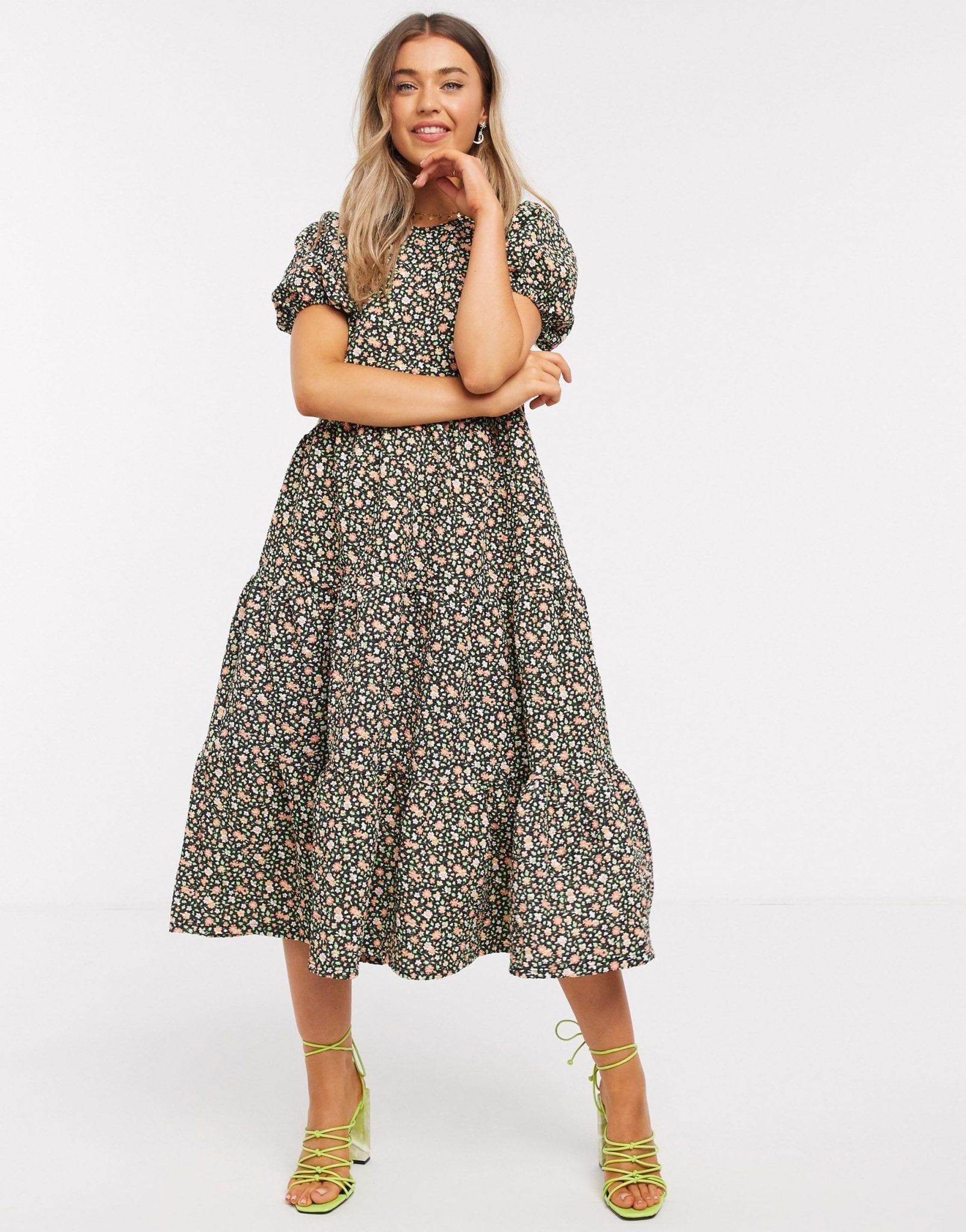 ASOS DESIGN Midi Tiered Smock Dress