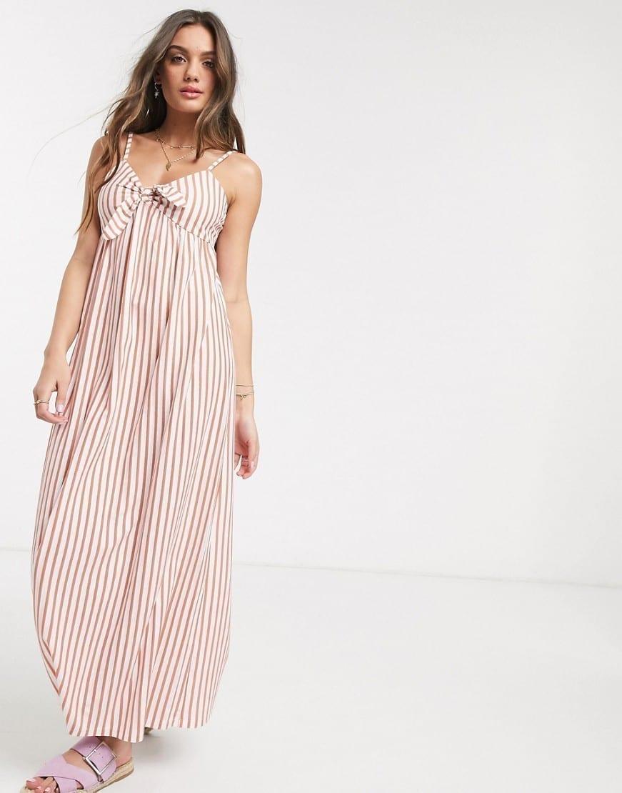 ASOS DESIGN Petite Cami Bow Front Maxi Sun Dress