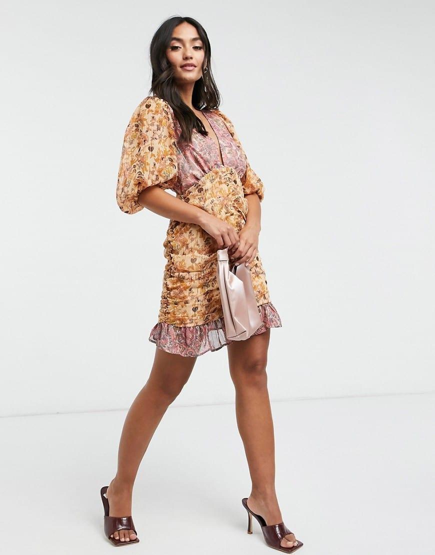 ASOS DESIGN Puff Sleeve Shirred Skirt Mini Dress