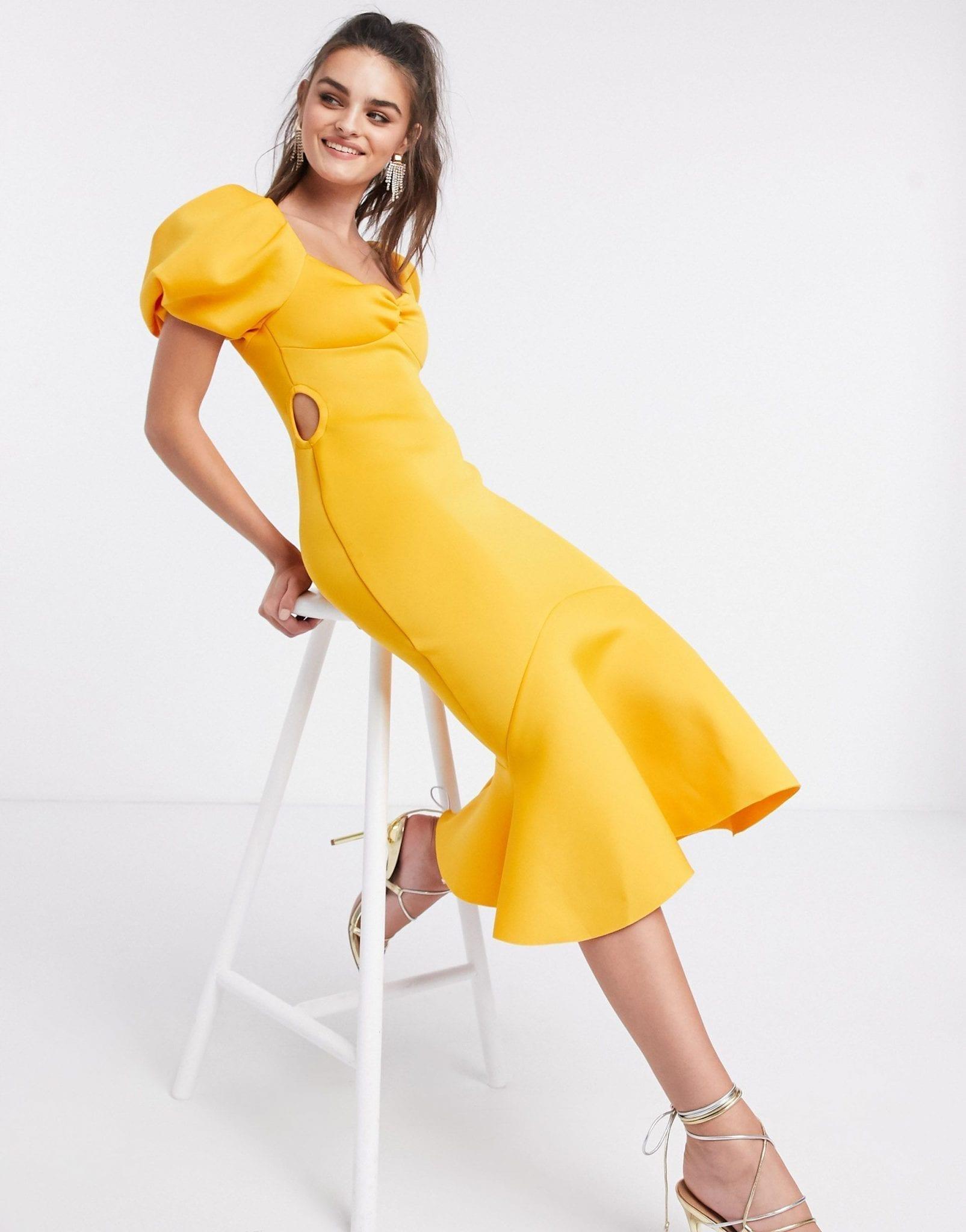 ASOS DESIGN Puff Sleeve Side Cut Out Midi Dress
