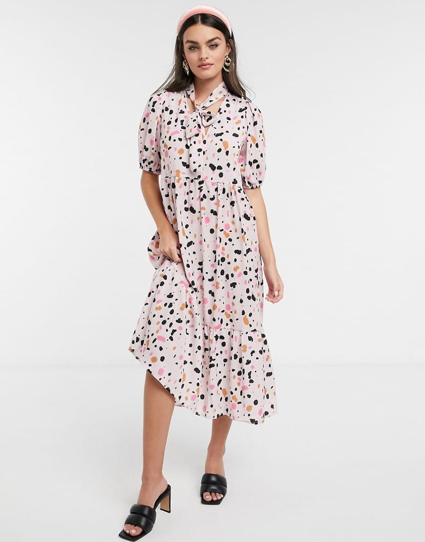 ASOS DESIGN Puff Sleeves And Tie Neck Trapeze Midi Dress