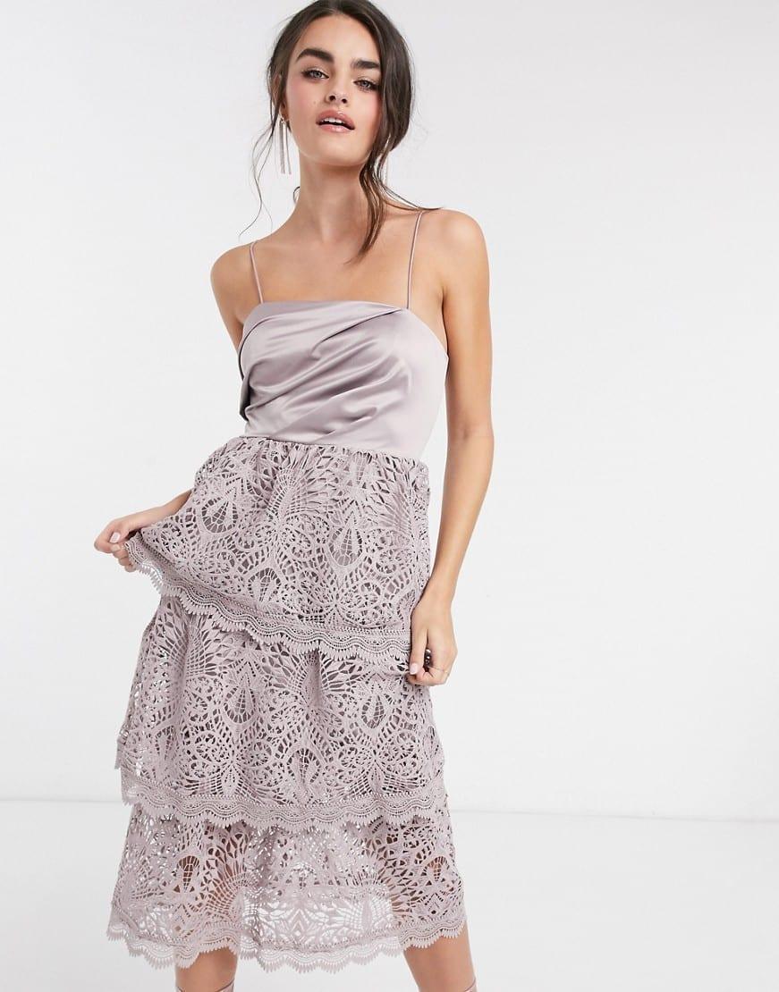 ASOS DESIGN Satin Drape Top Tiered Guipre Lace Midi Dress