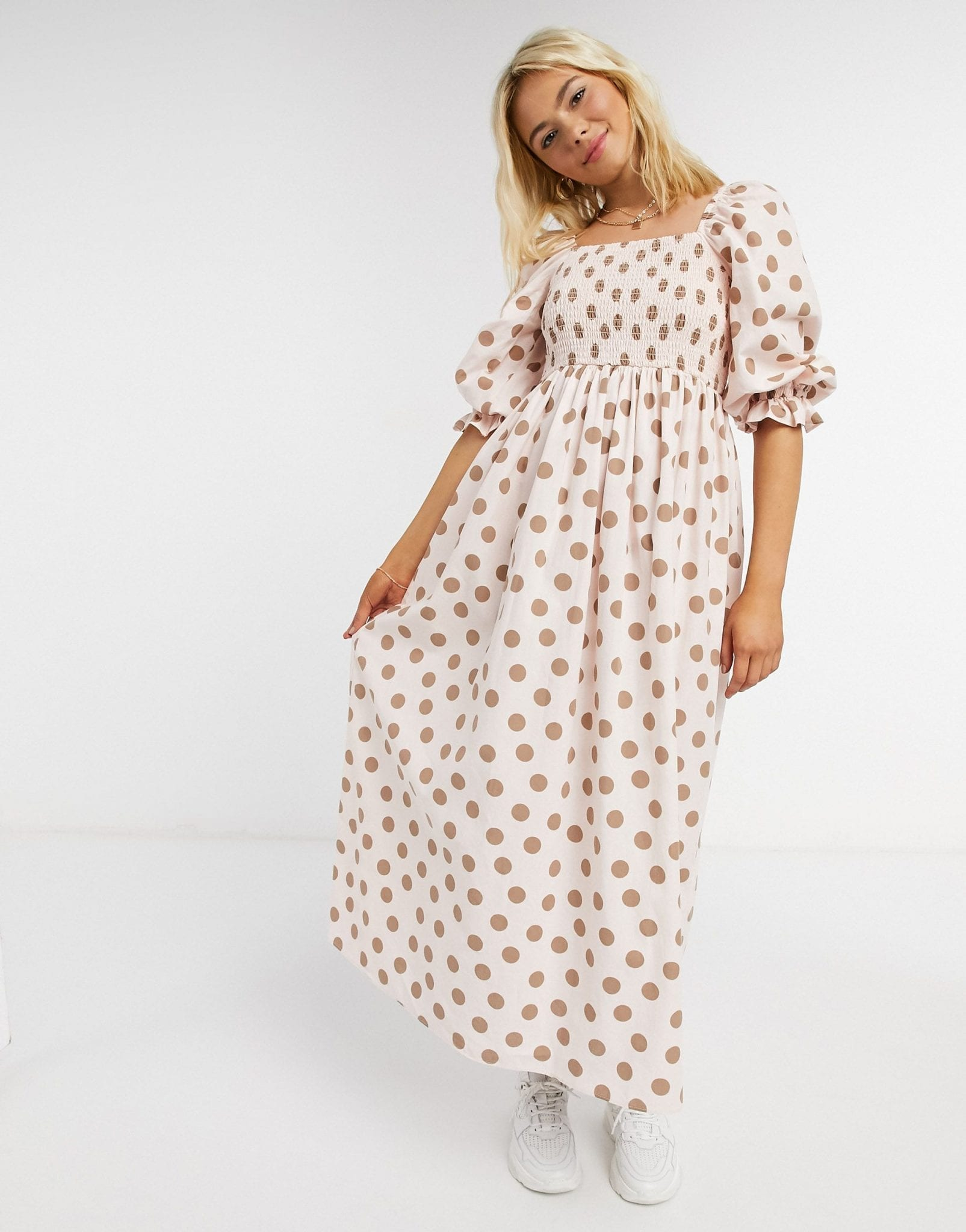 ASOS DESIGN Shirred Cotton Maxi Dress