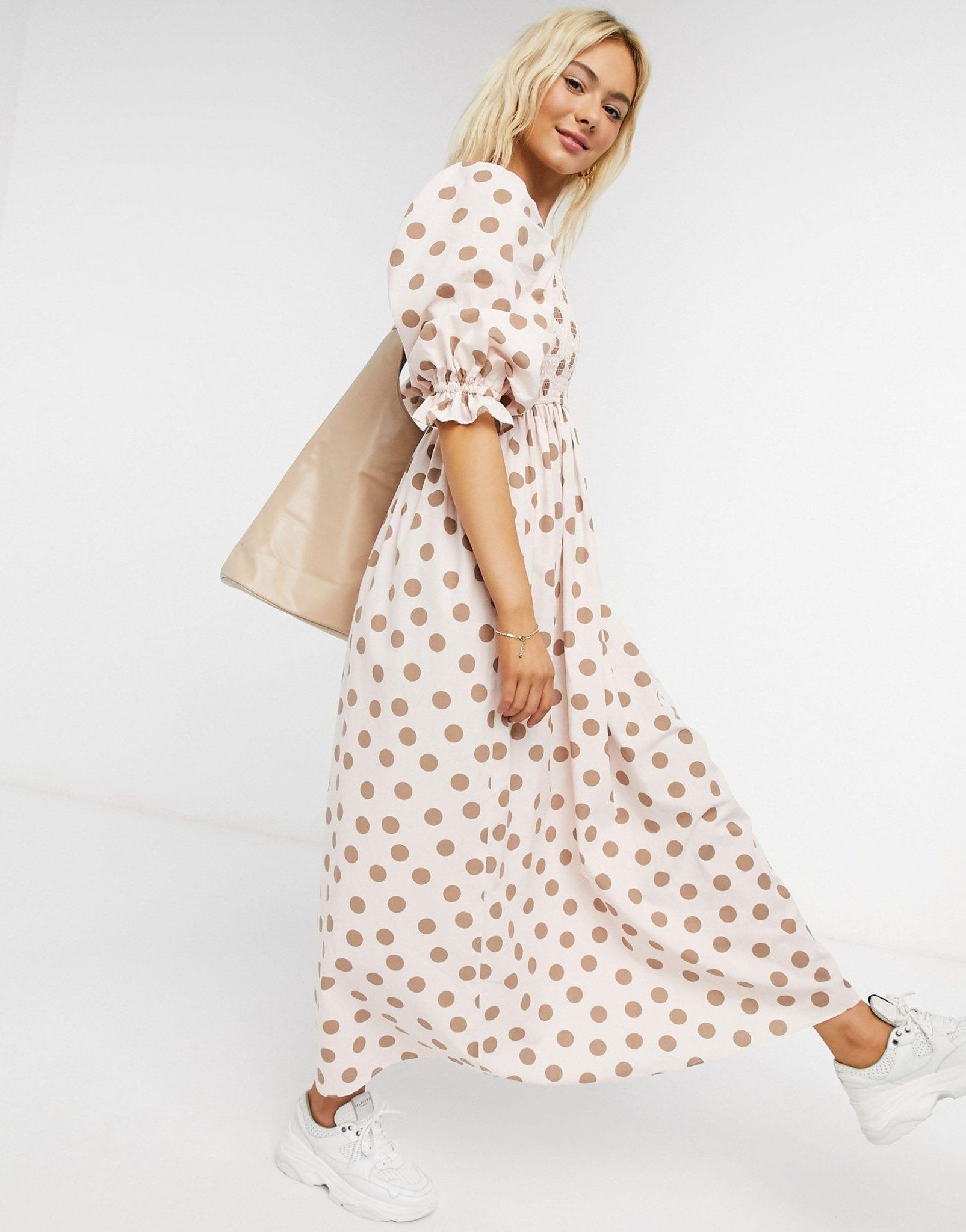 ASOS DESIGN Shirred Cotton Maxi Dress