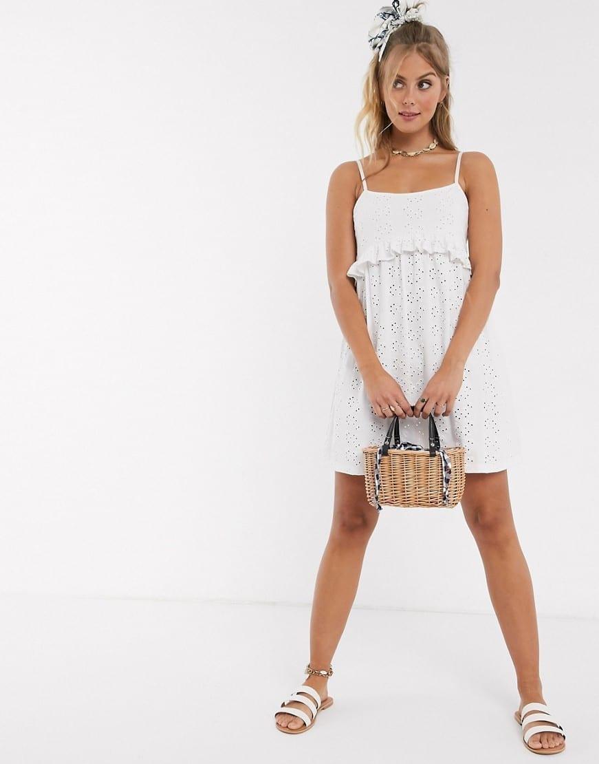 ASOS DESIGN Strappy Broderie Smock Sun Dress