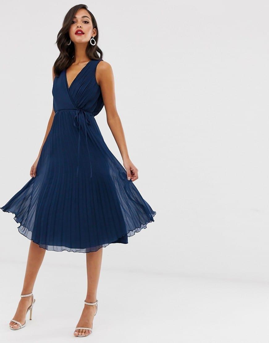 ASOS DESIGN Tie Waist And Pleat Skirt Wrap Bodice Midi Dress