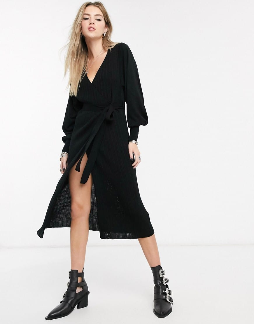 ASOS DESIGN Volume Sleeve Knitted Wrap Dress
