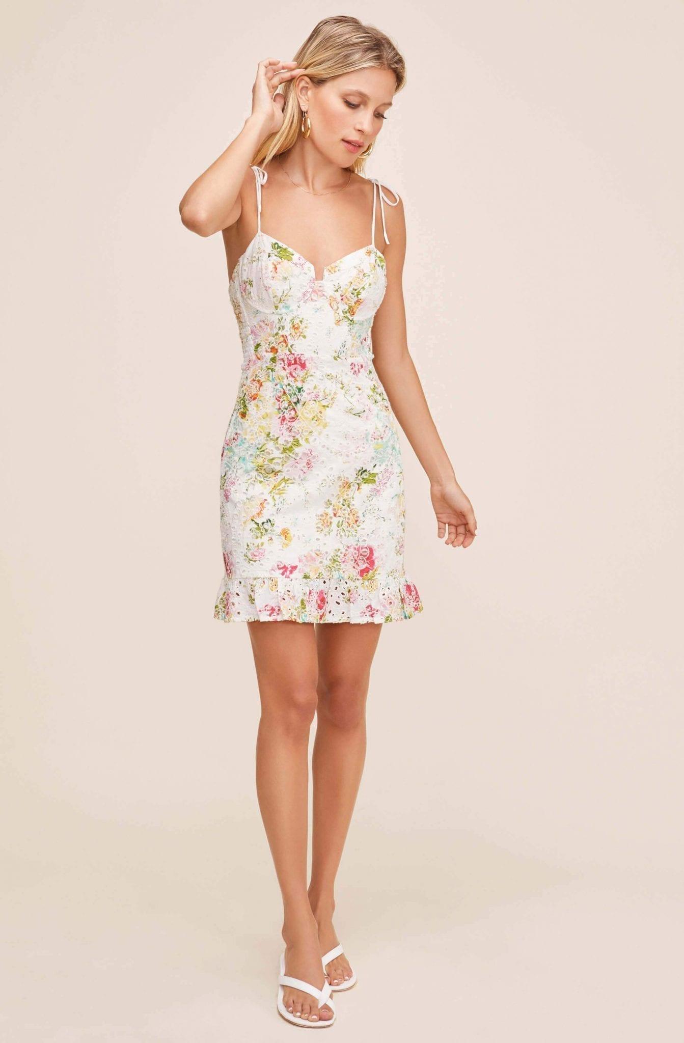 ASTR Mirielle Floral Print Eyelet Dress