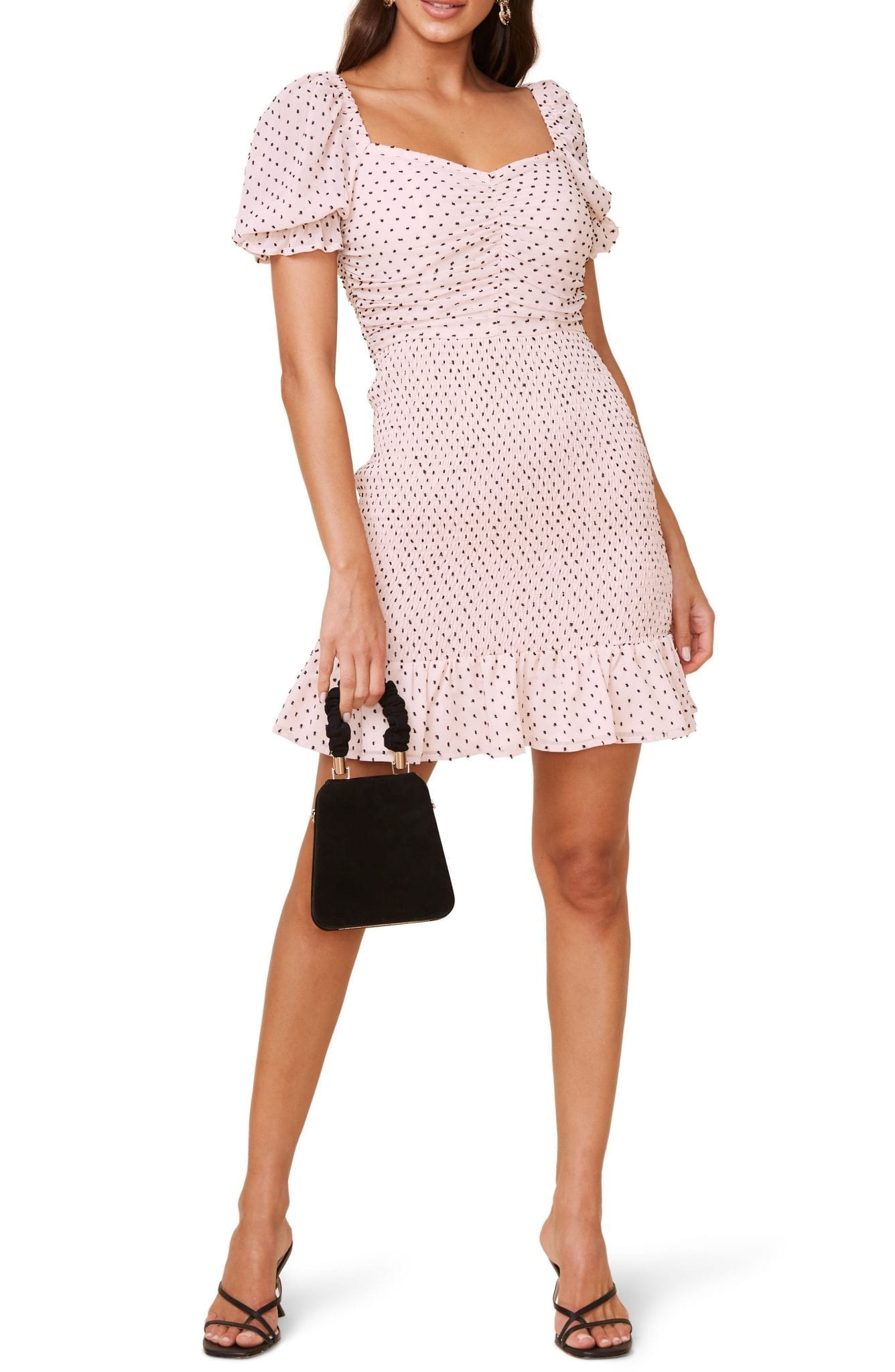 ASTR THE LABEL Smocked Clip Dot Chiffon Mini Dress