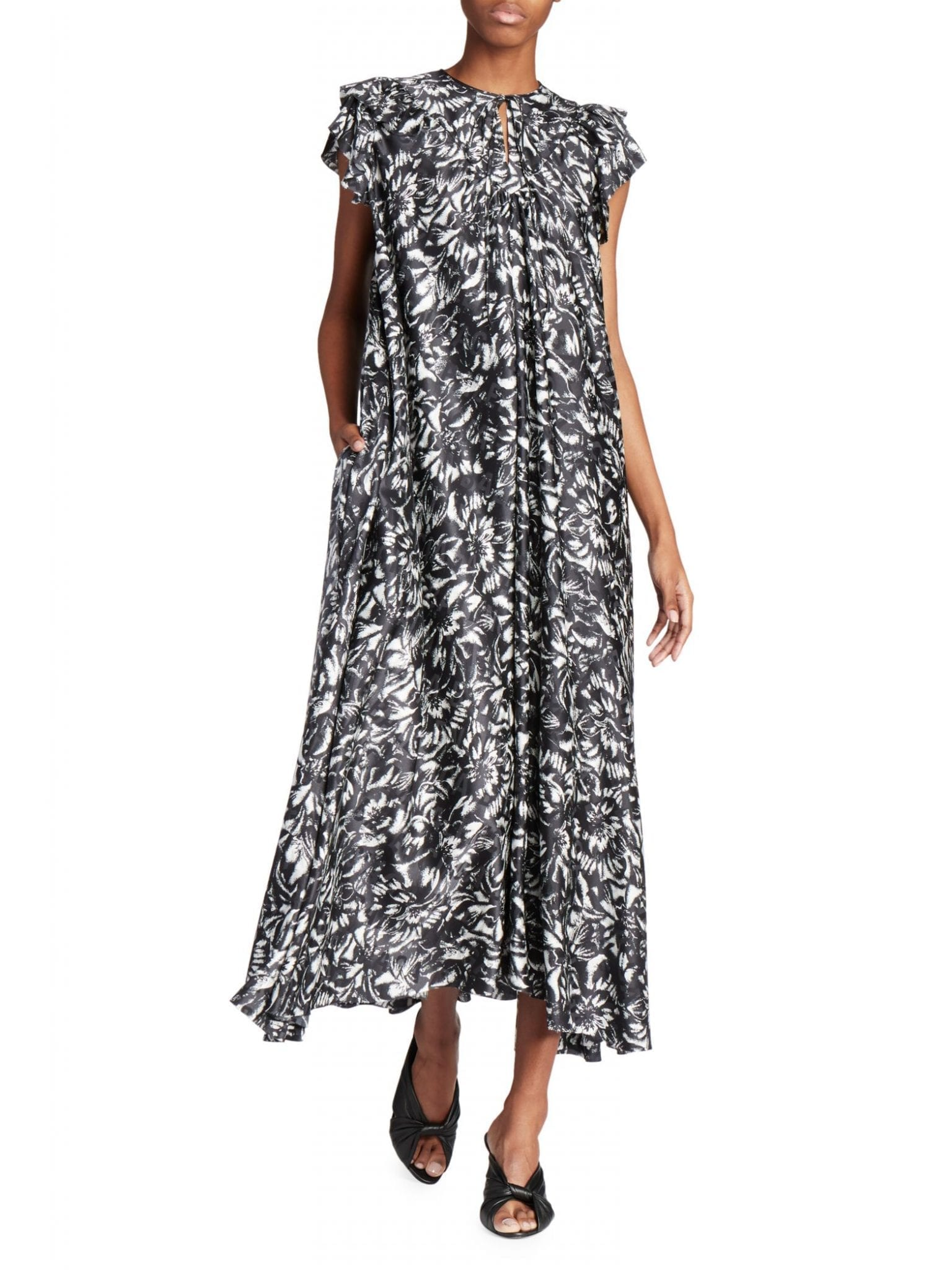 BALENCIAGA Flou Printed Silk Midii Dress