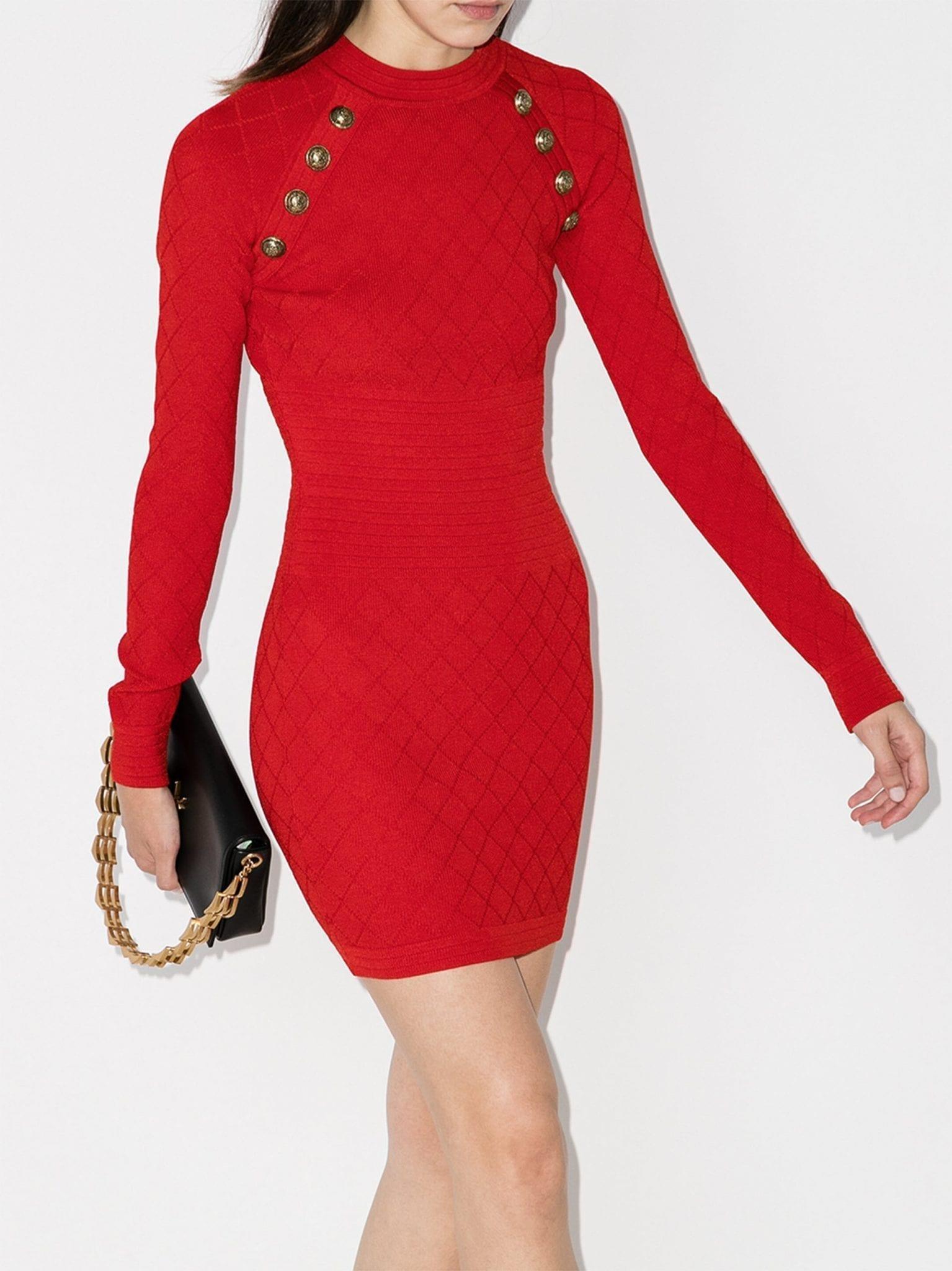 BALMAIN Diamond Knit Mini Dress