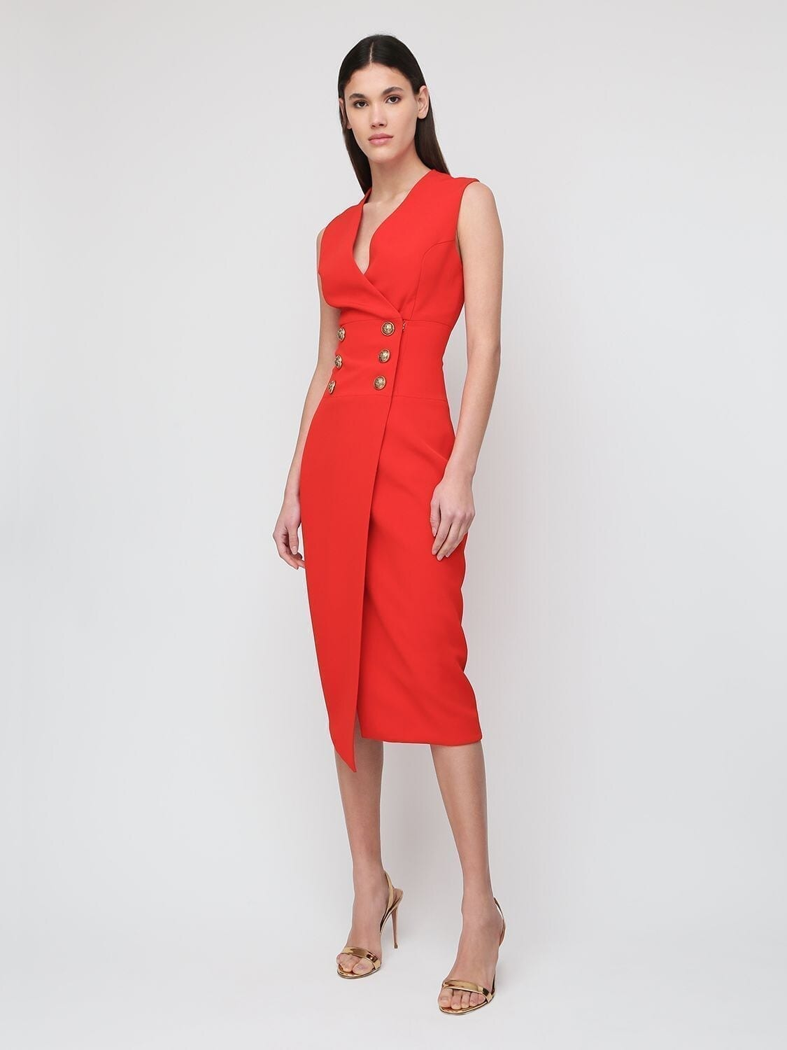BALMAIN Sleeveless Viscose Crepe Midi Dress
