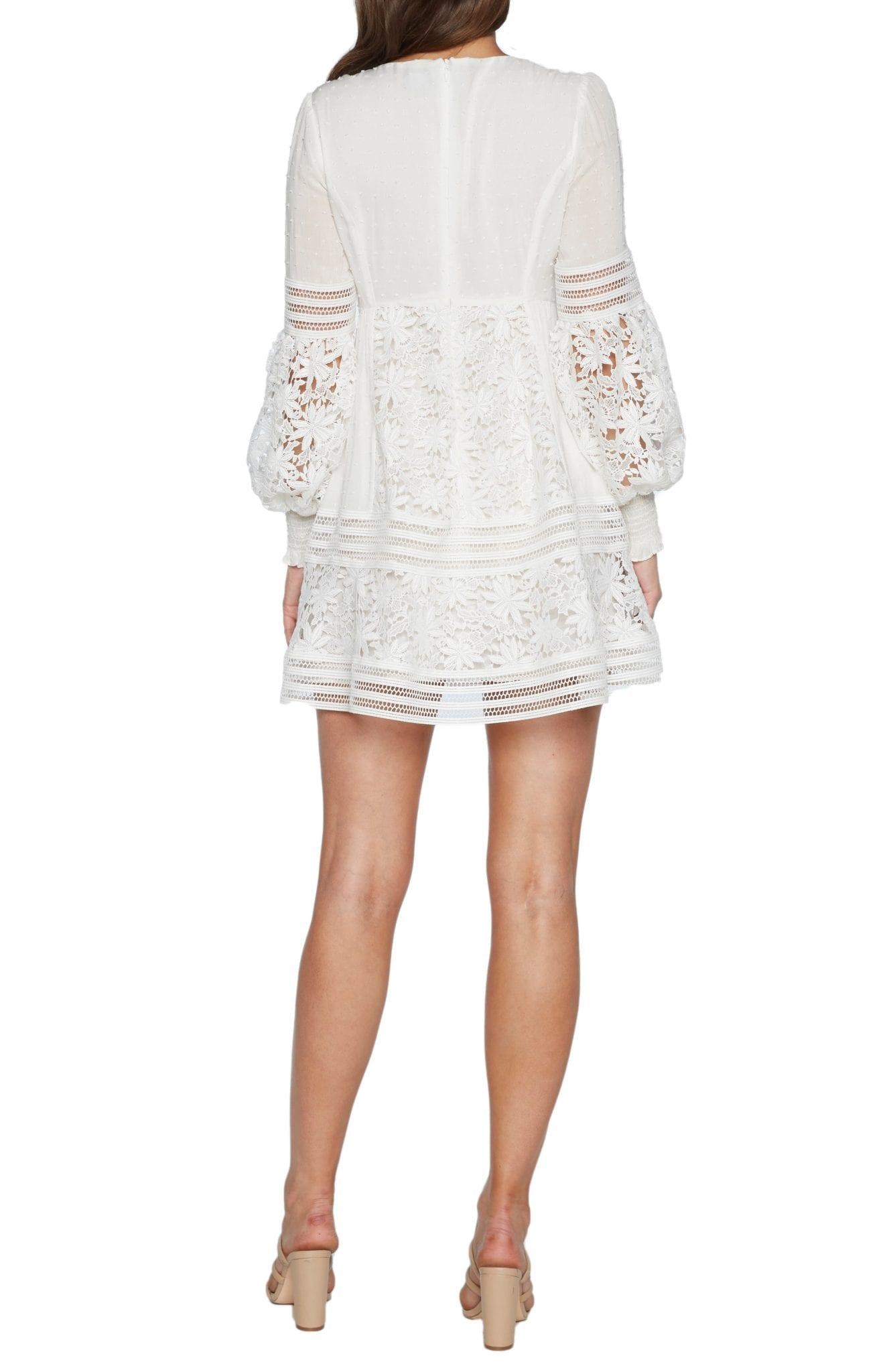 BARDOT Mariah Long Sleeve Swiss Dot & Lace Babydoll Dress