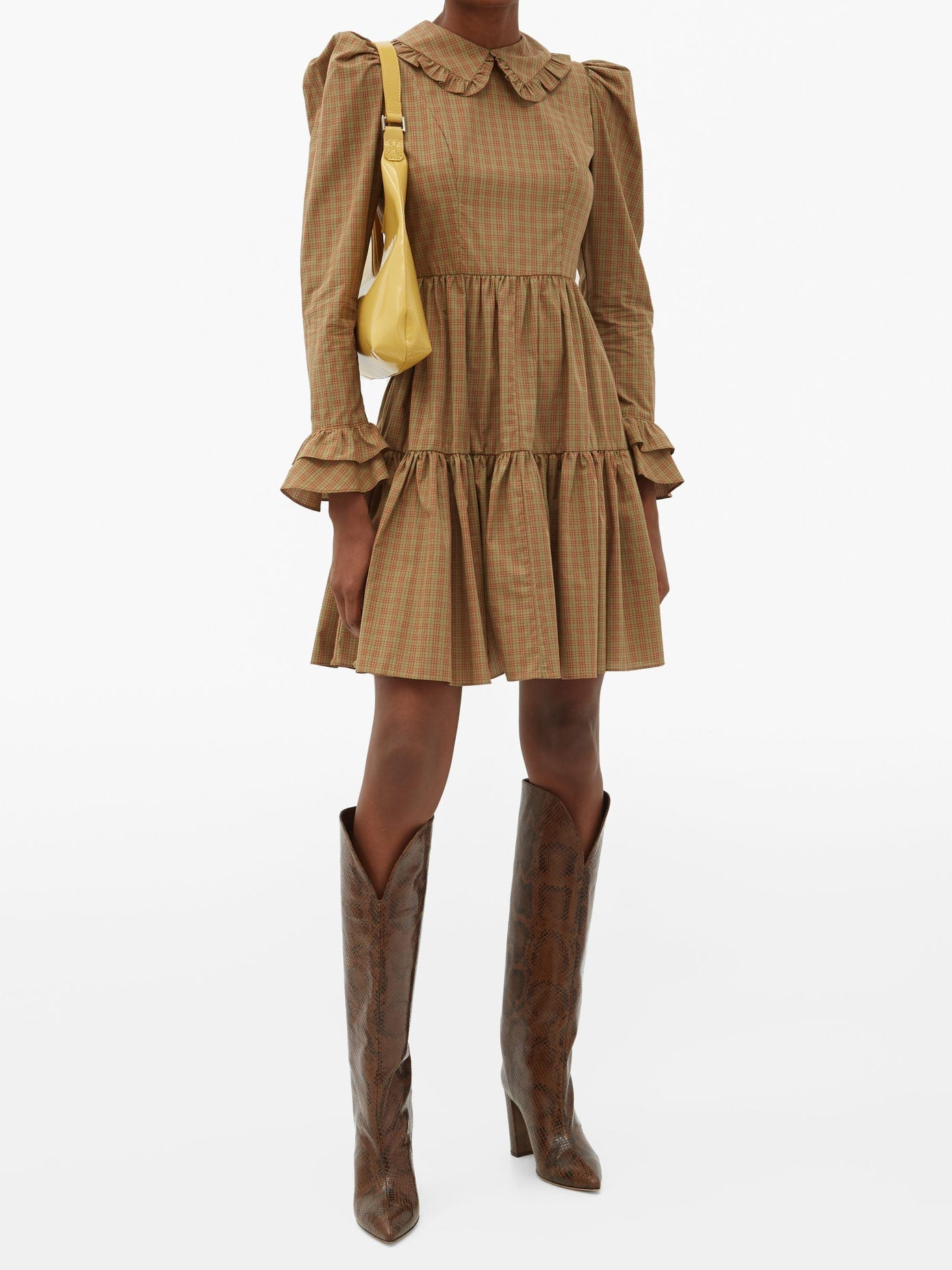 BATSHEVA Lucy Checked Cotton Mini Dress