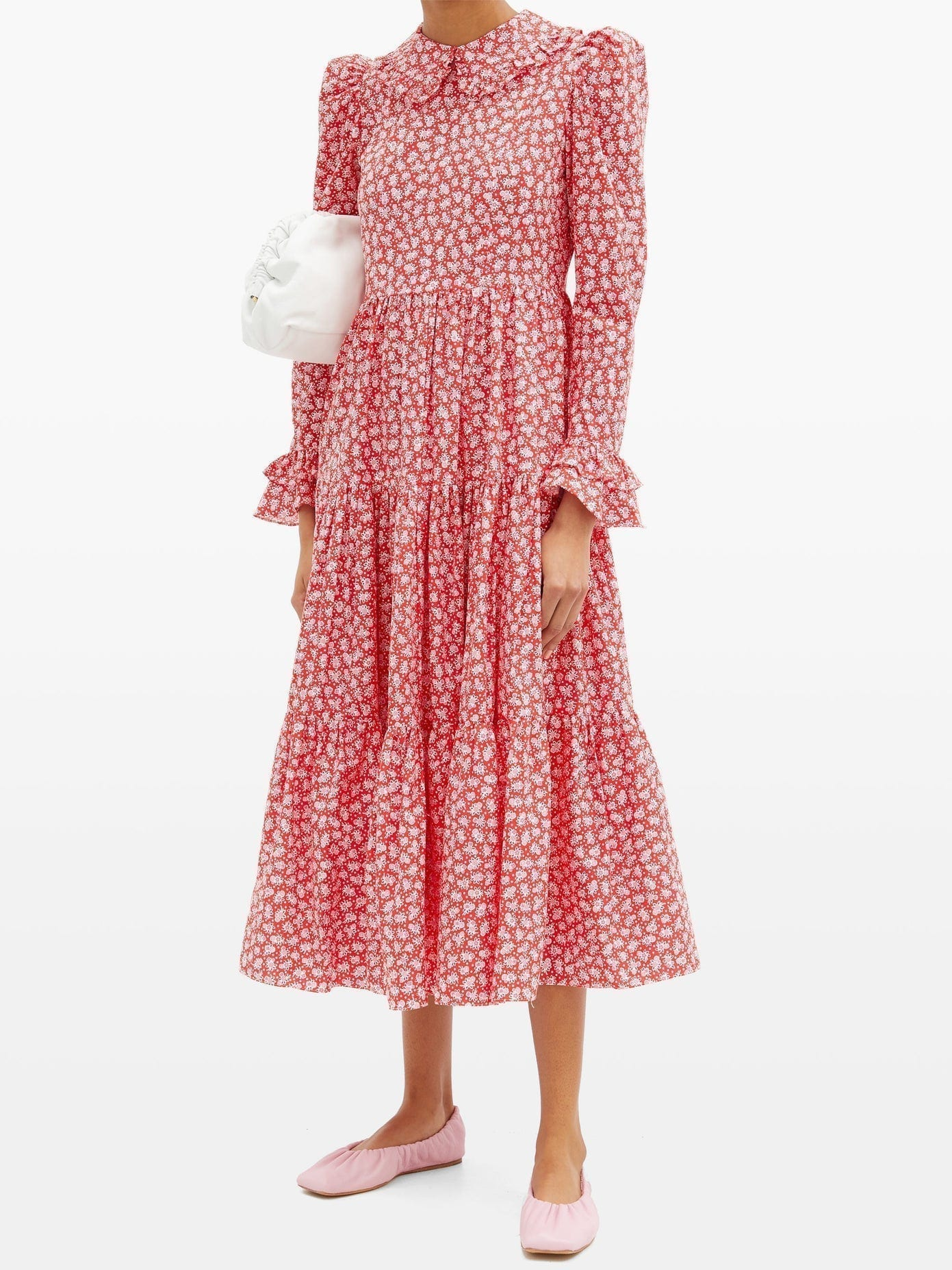 BATSHEVA Lucy Gathered Floral-print Cotton-poplin Dress