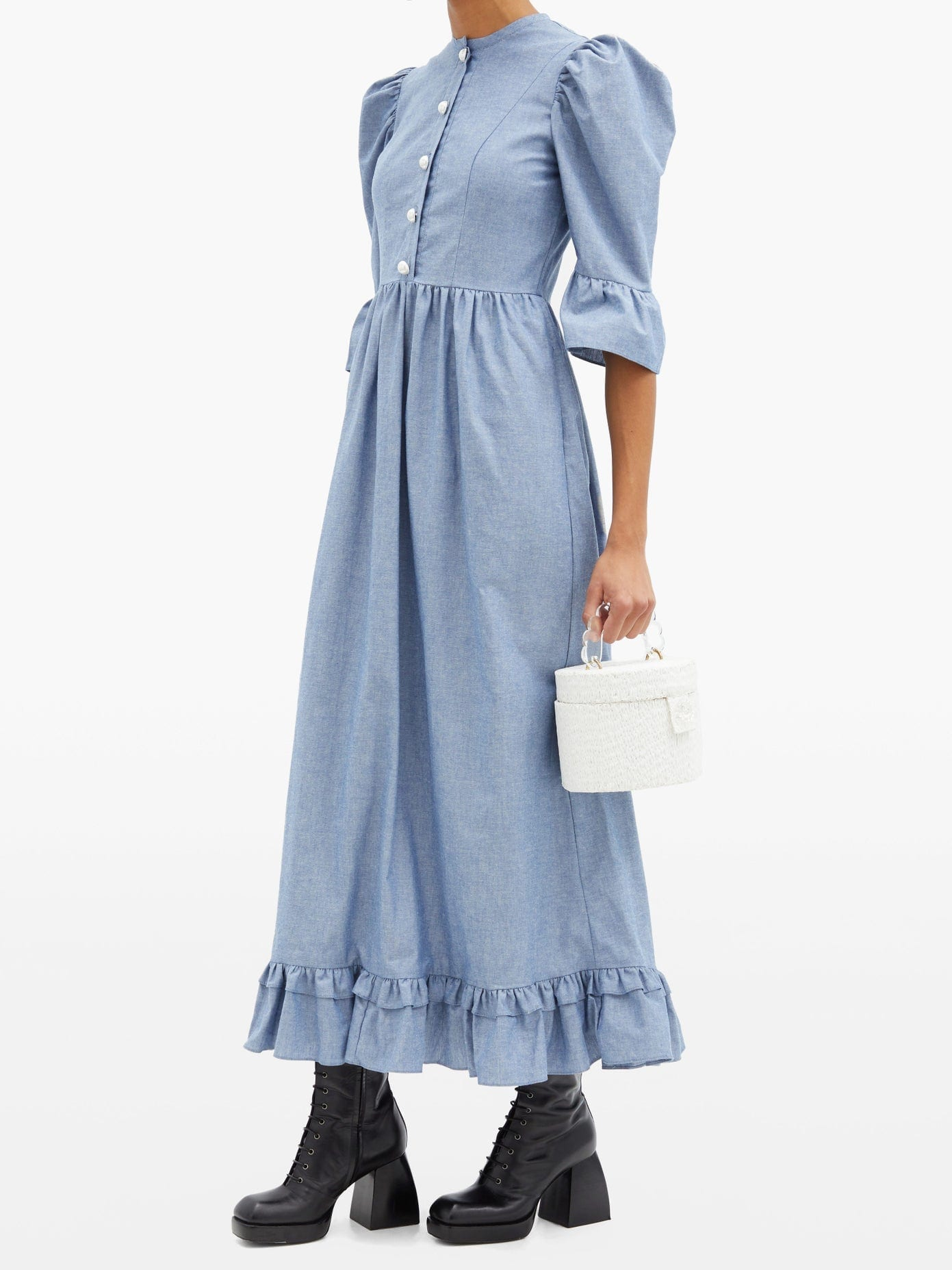 BATSHEVA Pearl-button Cotton-chambray Dress