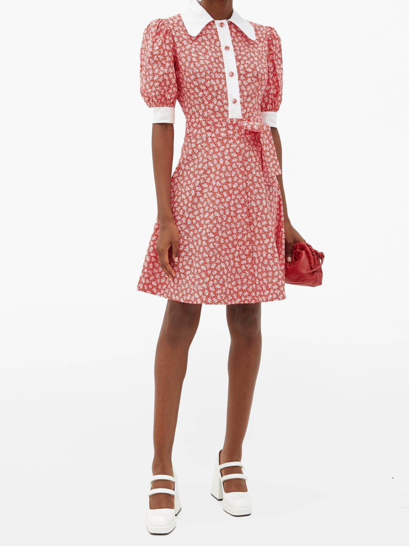 BATSHEVA Tie-waist Floral-print Cotton Dress