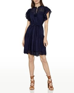 BCBGMAXAZRIA Eyelet Ruffle Mini Dress