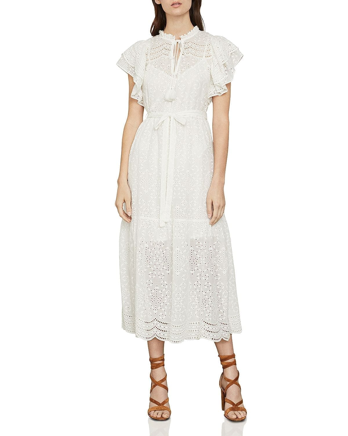 BCBGMAXAZRIA Eyelet Ruffled Cotton Midi Dress
