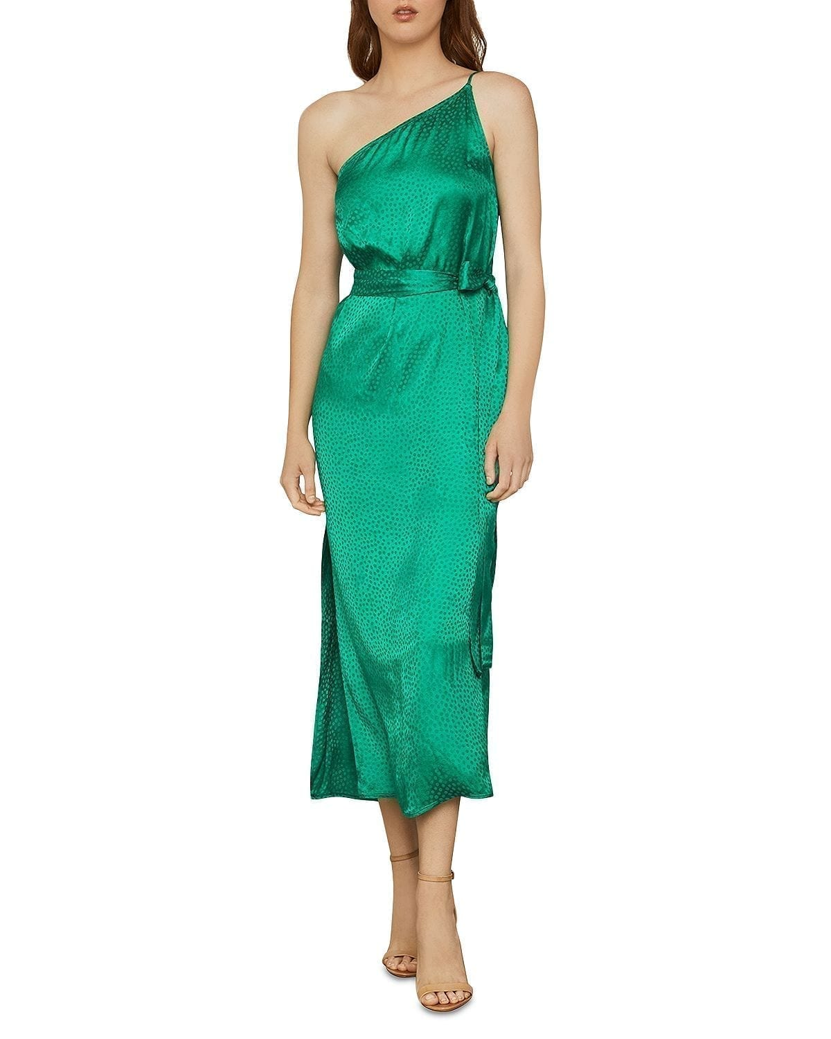 BCBGMAXAZRIA One-Shoulder Satin Dress