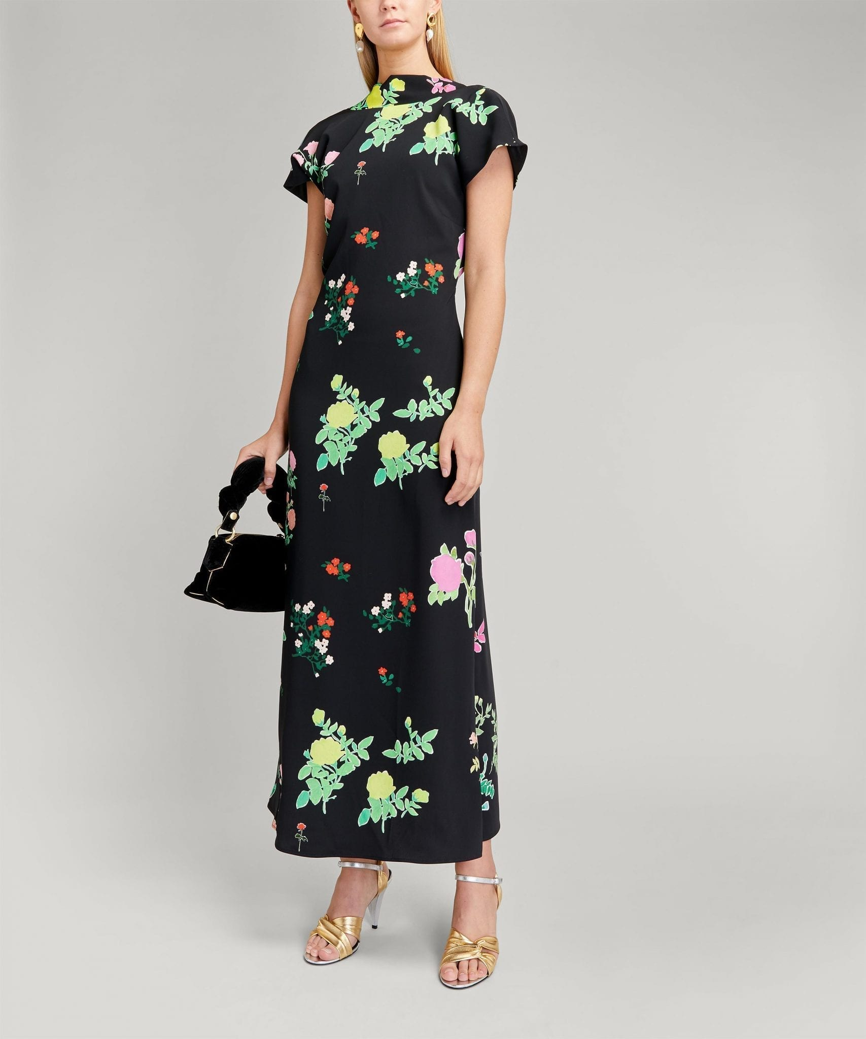 BERNADETTE Valentine High-Neck Cap-Sleeve Dress