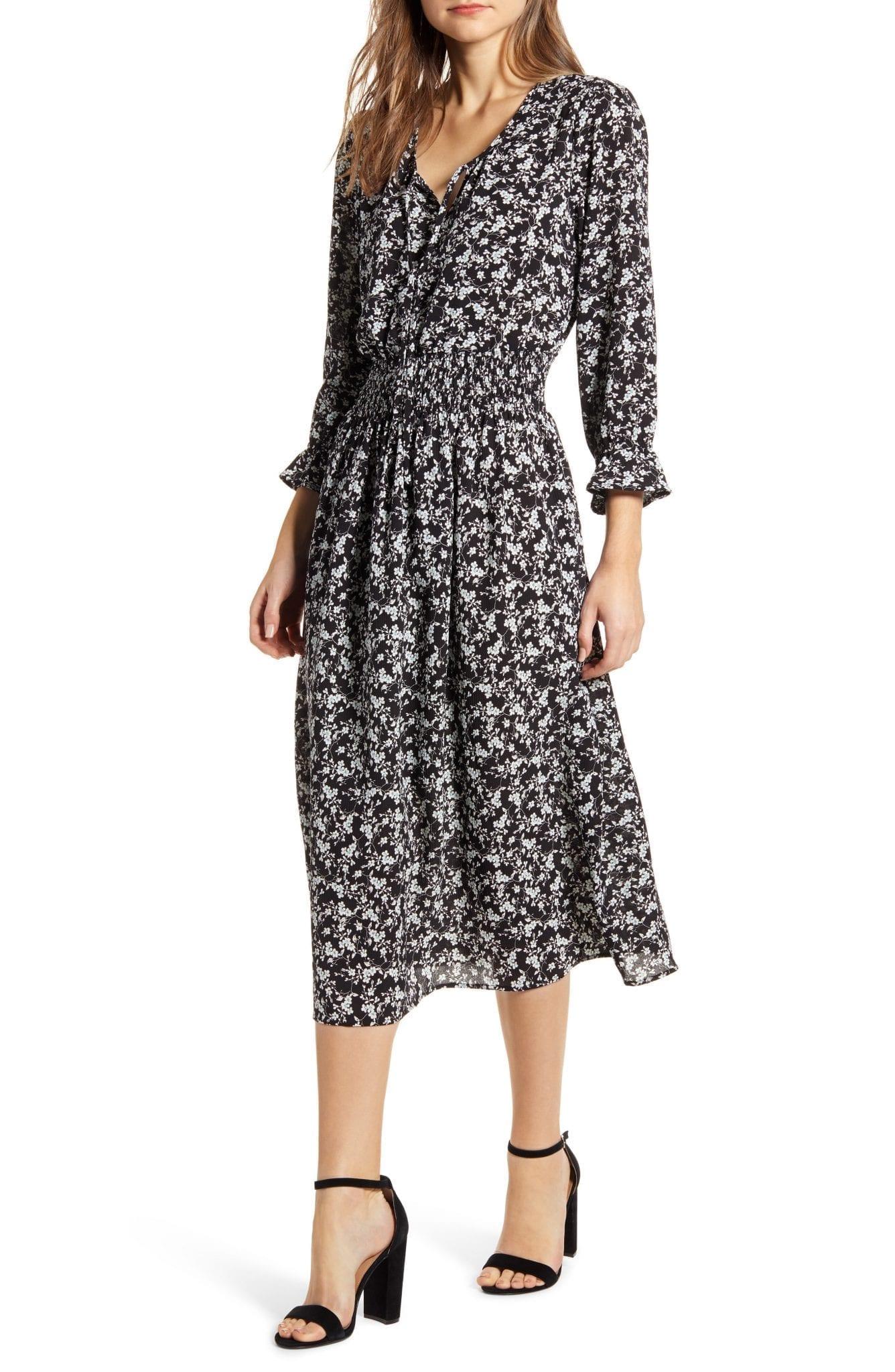 BOBEAU Print Smocked Midi Dress