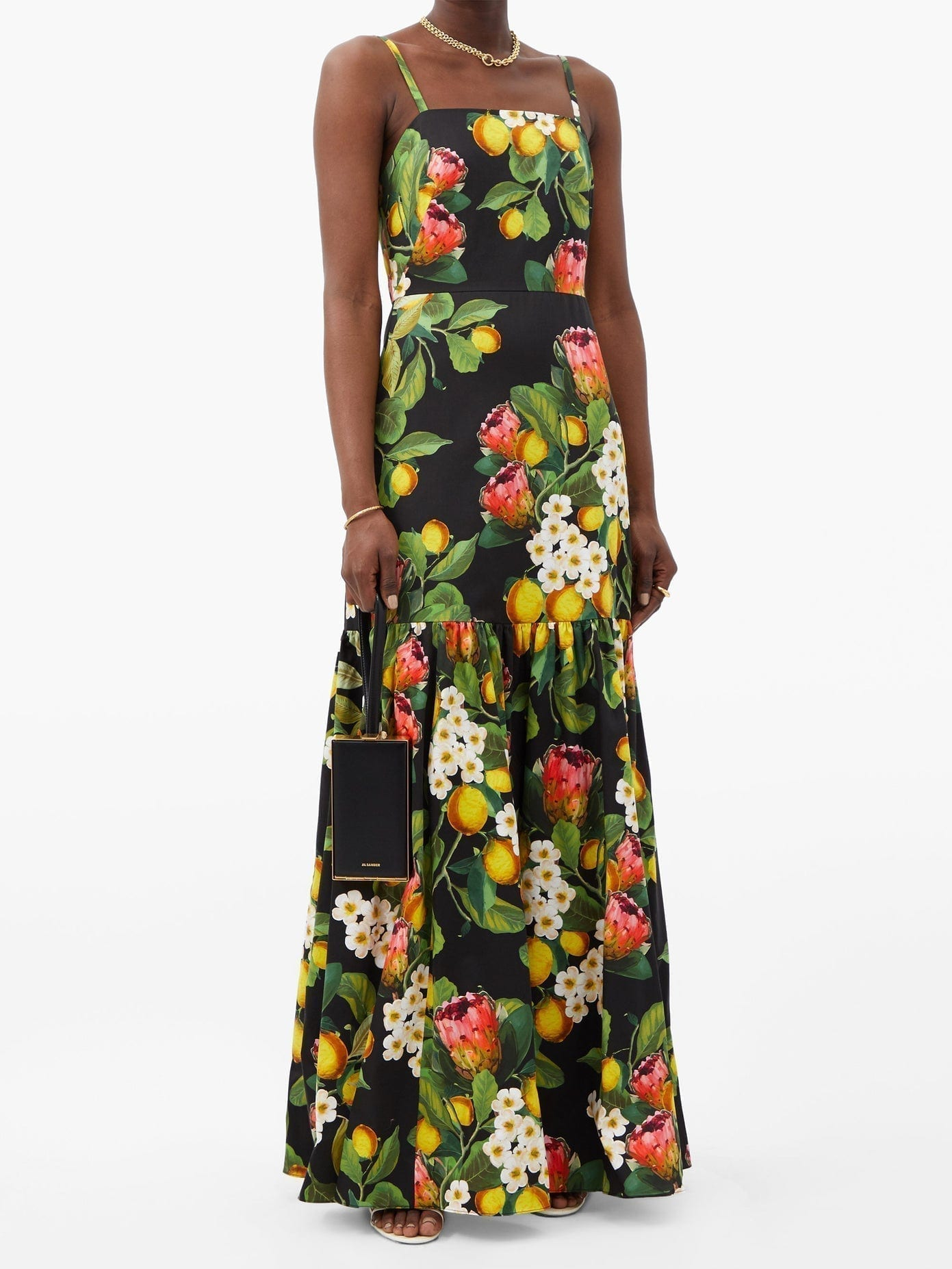 BORGO DE NOR Cordelia Lemon Blossom-print Cotton Maxi Dress