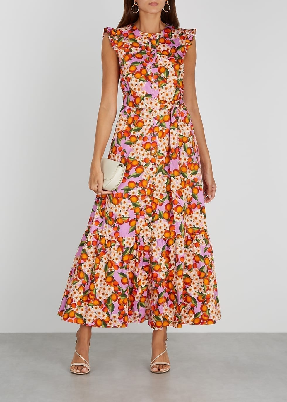 BORGO DE NOR Gabrielle Floral-print Cotton Midi Dress