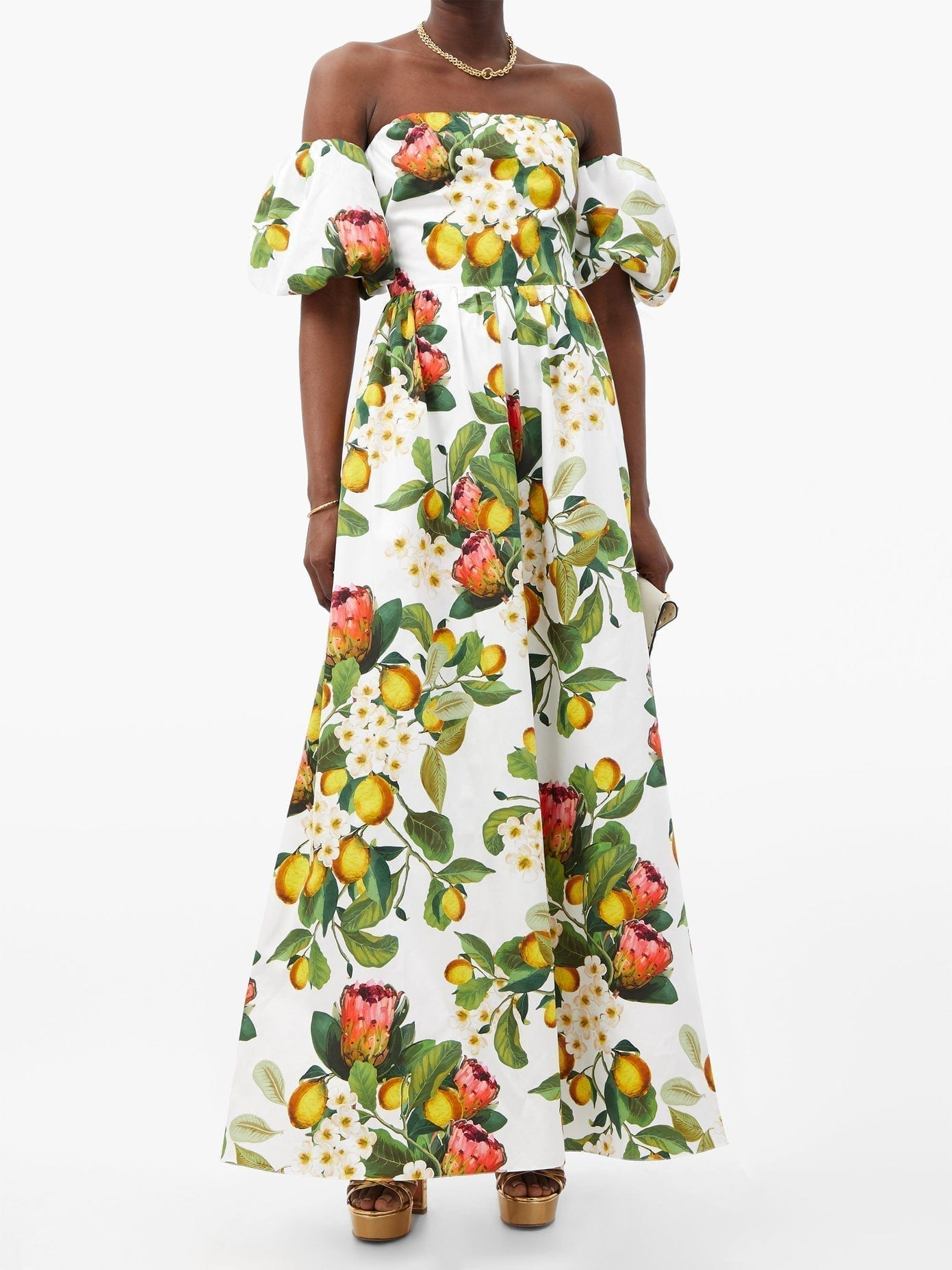 BORGO DE NOR Juliet Off-the-shoulder Lemon-print Cotton Dress