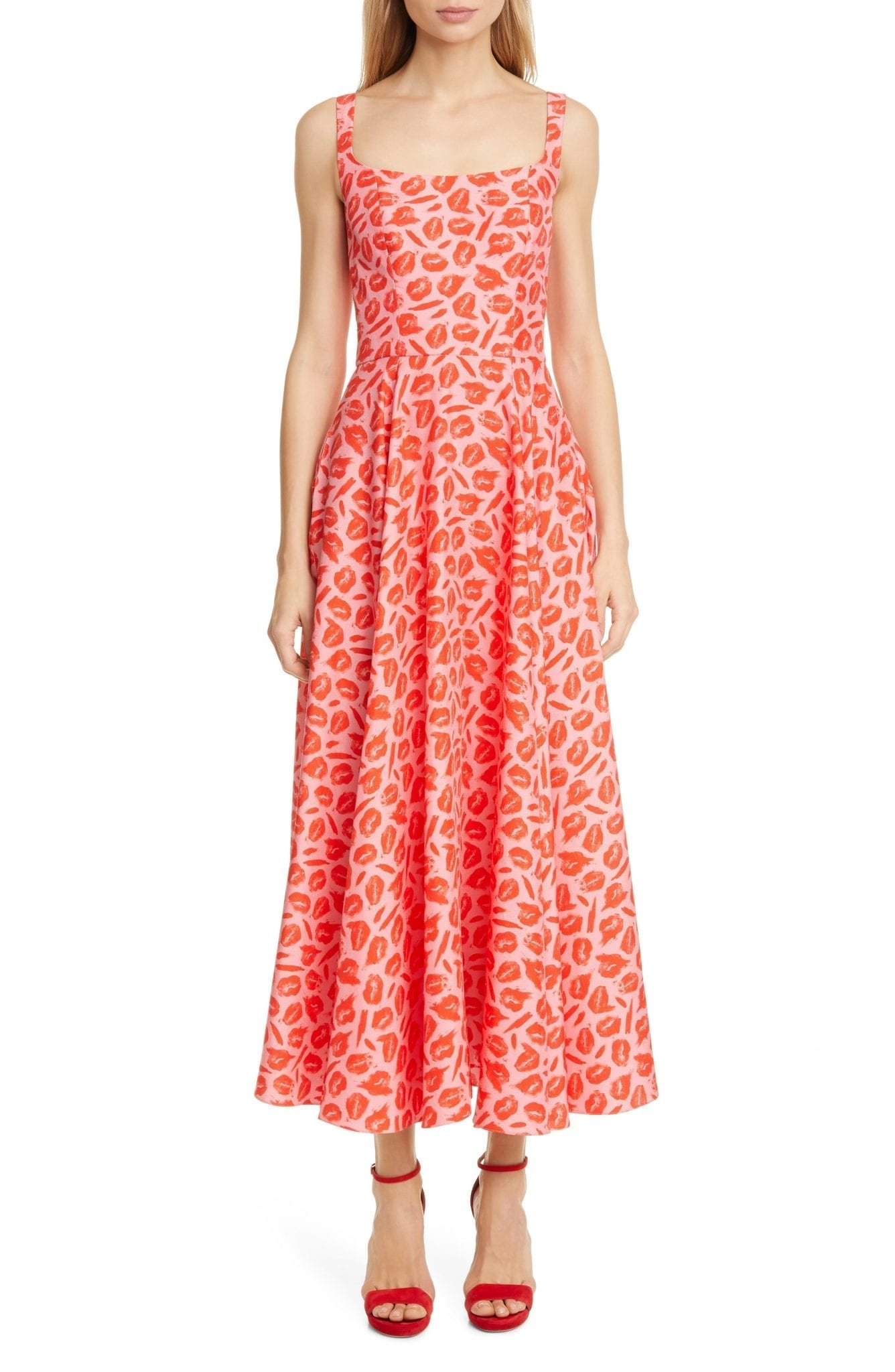 BRANDON MAXWELL Lip Print Fit & Flare Dress