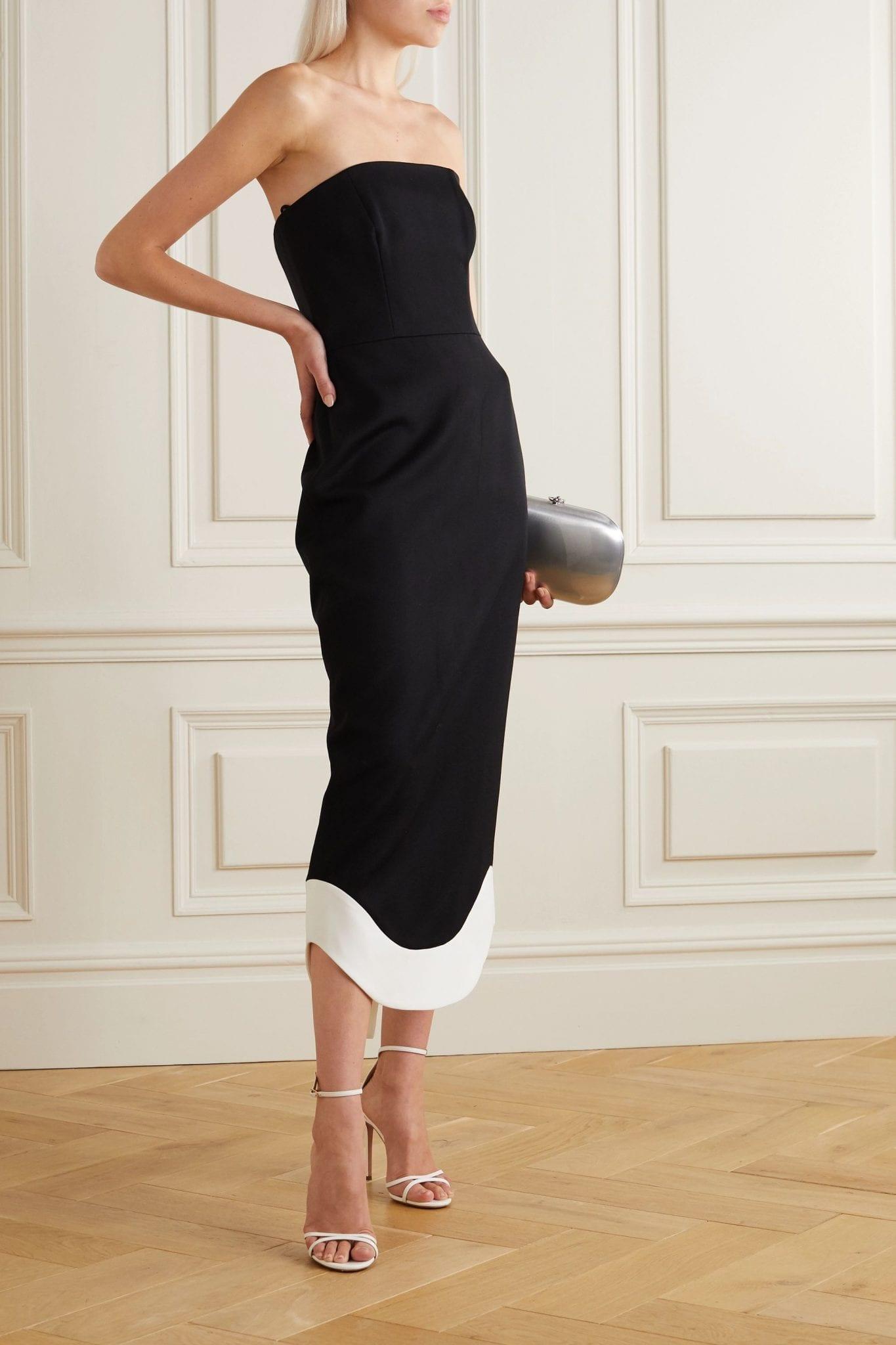 BRANDON MAXWELL Strapless Wool Midi Dress