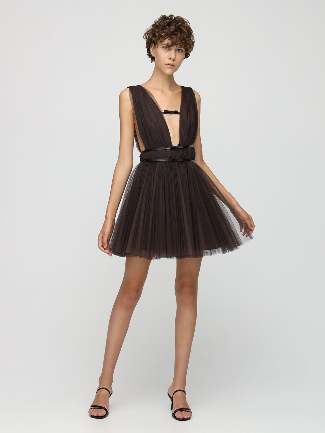 BROGNANO Faux Leather Straps Tulle Mini Dress