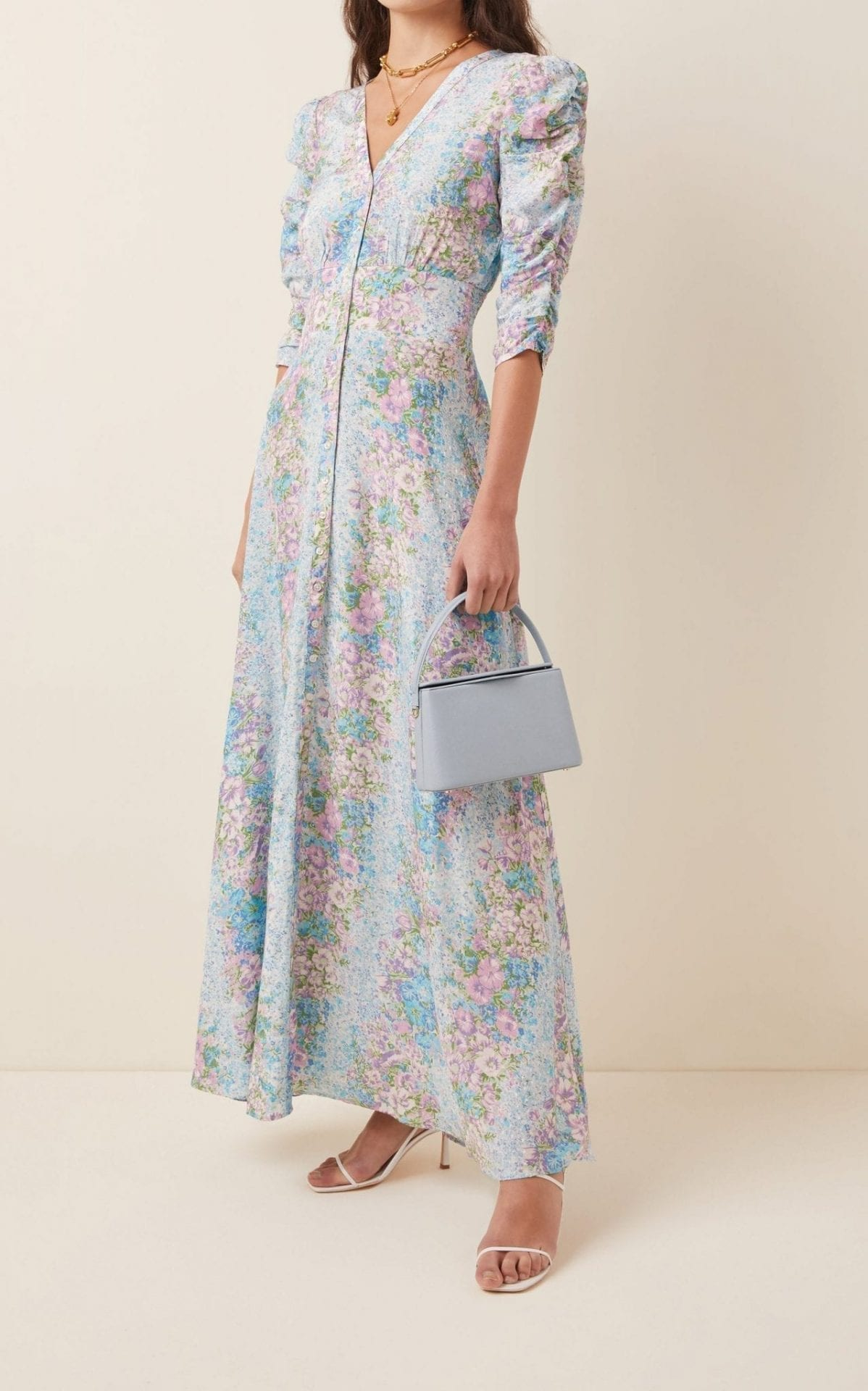 BYTIMO Printed Crepe De Chine Maxi Dress