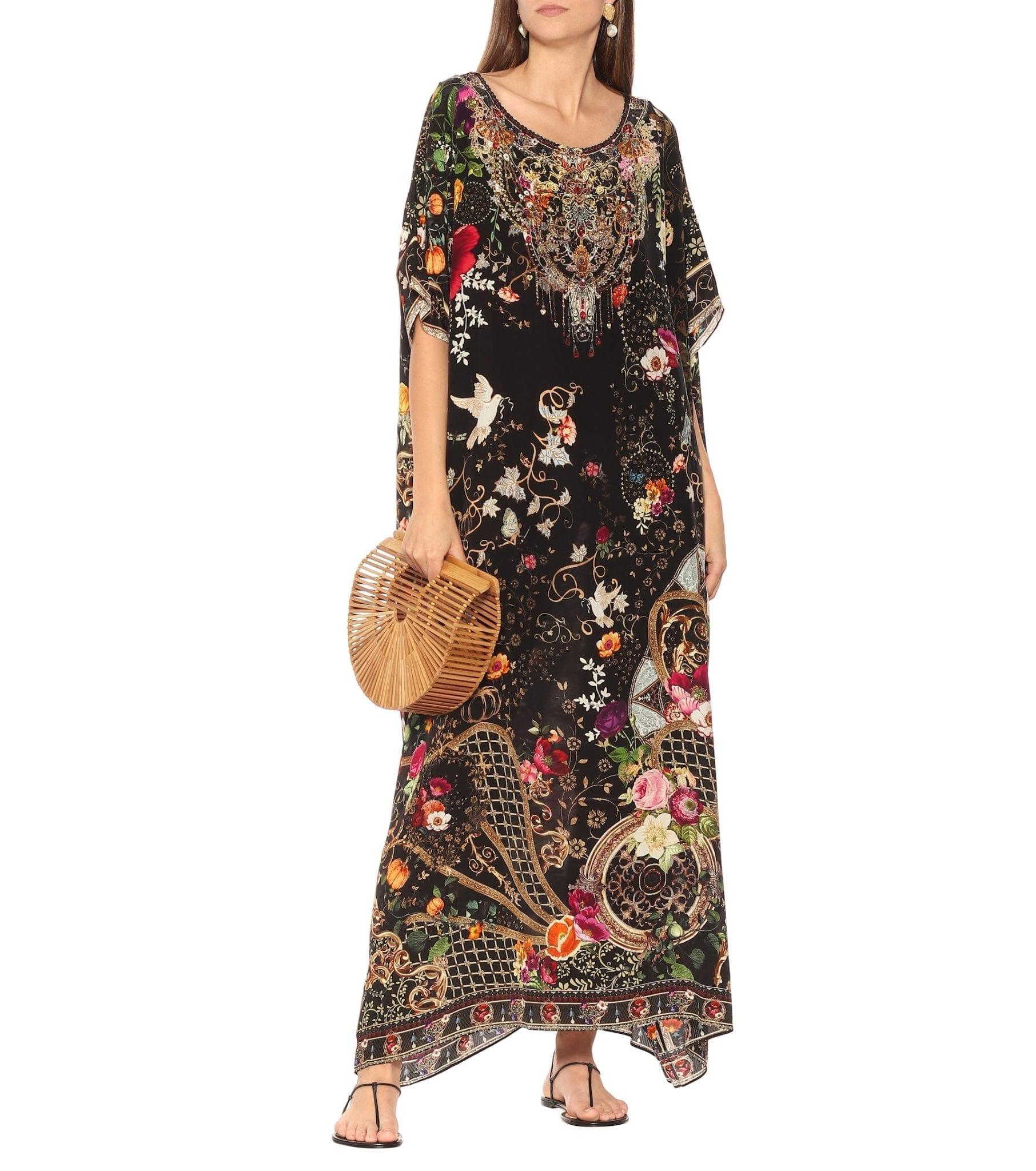 CAMILLA Floral Silk Kaftan Dress