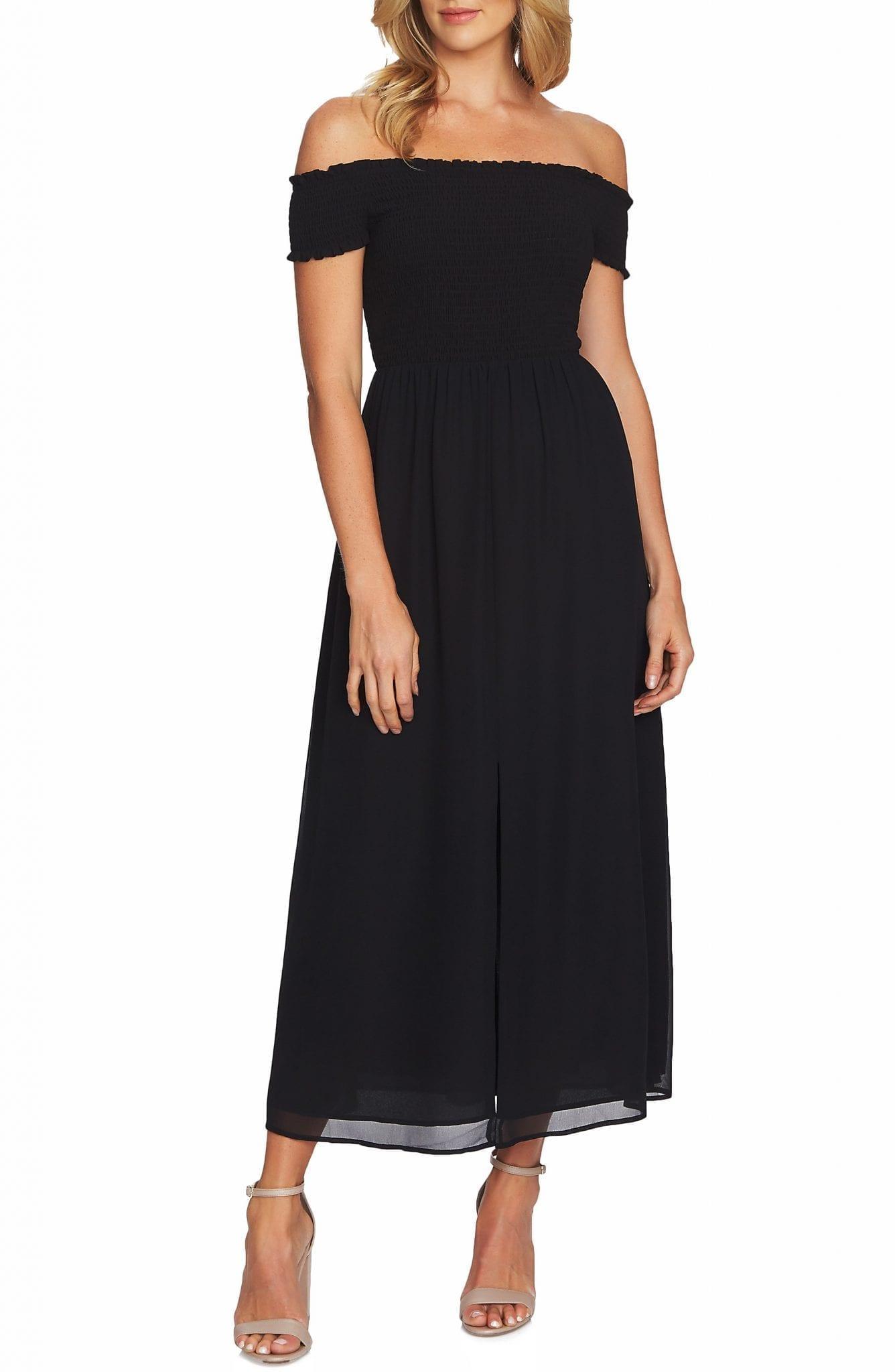CECE Off the Shoulder Smock Detail Maxi Dress