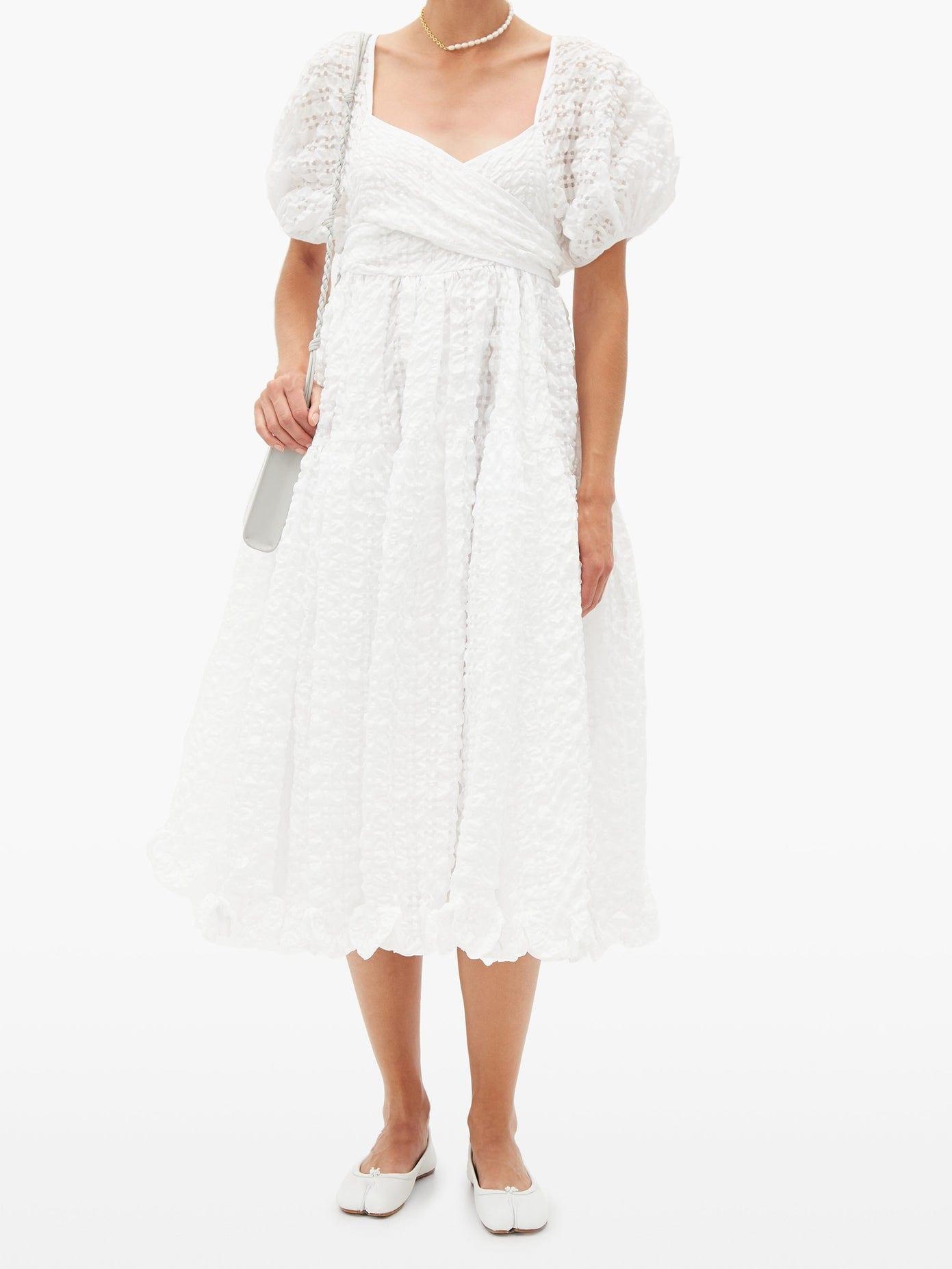 CECILIE BAHNSEN Maya Puffed-sleeve Seersucker Dress