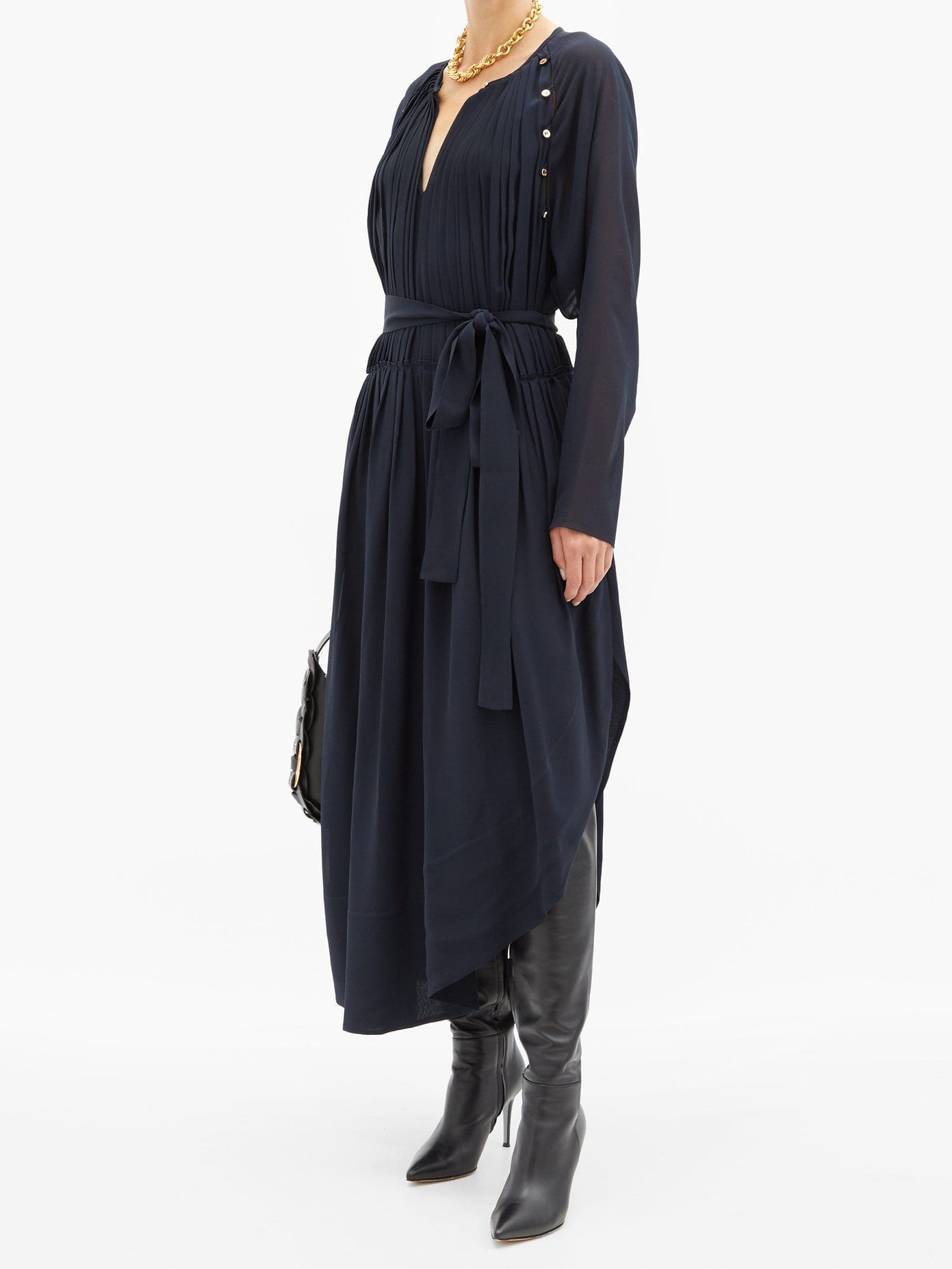 CHLOÉ Cutout Pleated Silk-georgette Dress