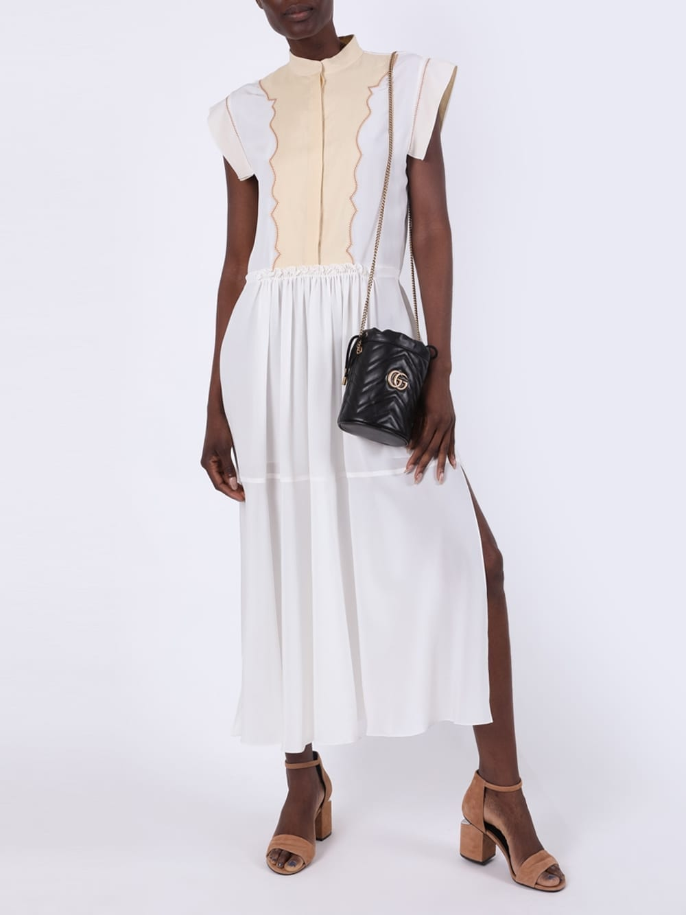 CHLOÉ White And Cream Cap Sleeve Button-down Midi Dress