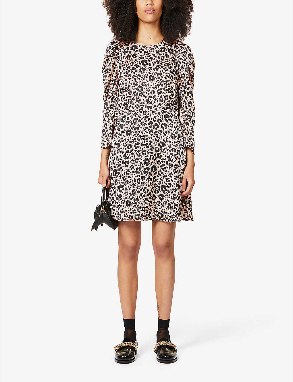 CLAUDIE PIERLOT Reyna Leopard-print Satin-crepe Mini Dress