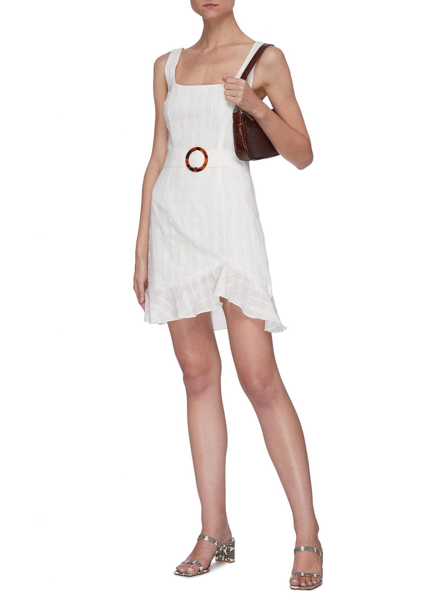 DE LA VALI Christabel Belted Asymmetric Ruffle Hem Mini Dress