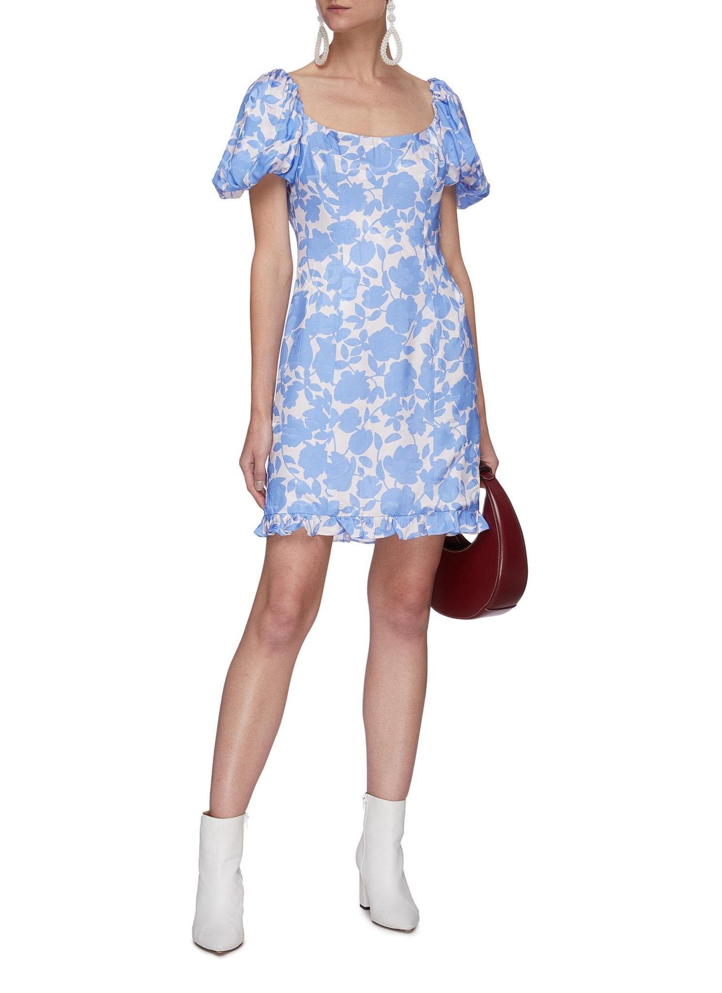 DE LA VALI Koko Jacquard Pomrose Mini Dress