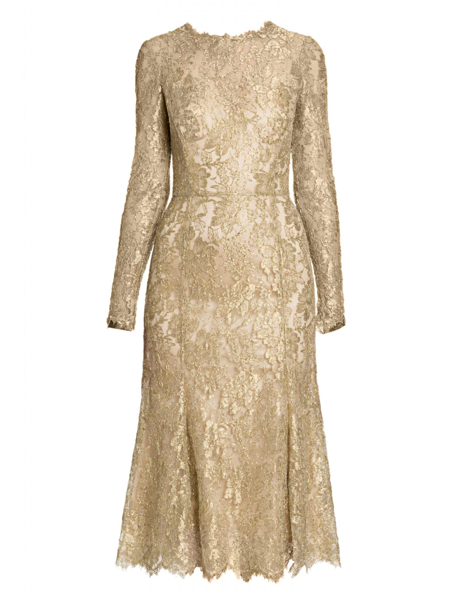 DOLCE & GABBANA Goldtone Lace Fit-&-Flare Dress