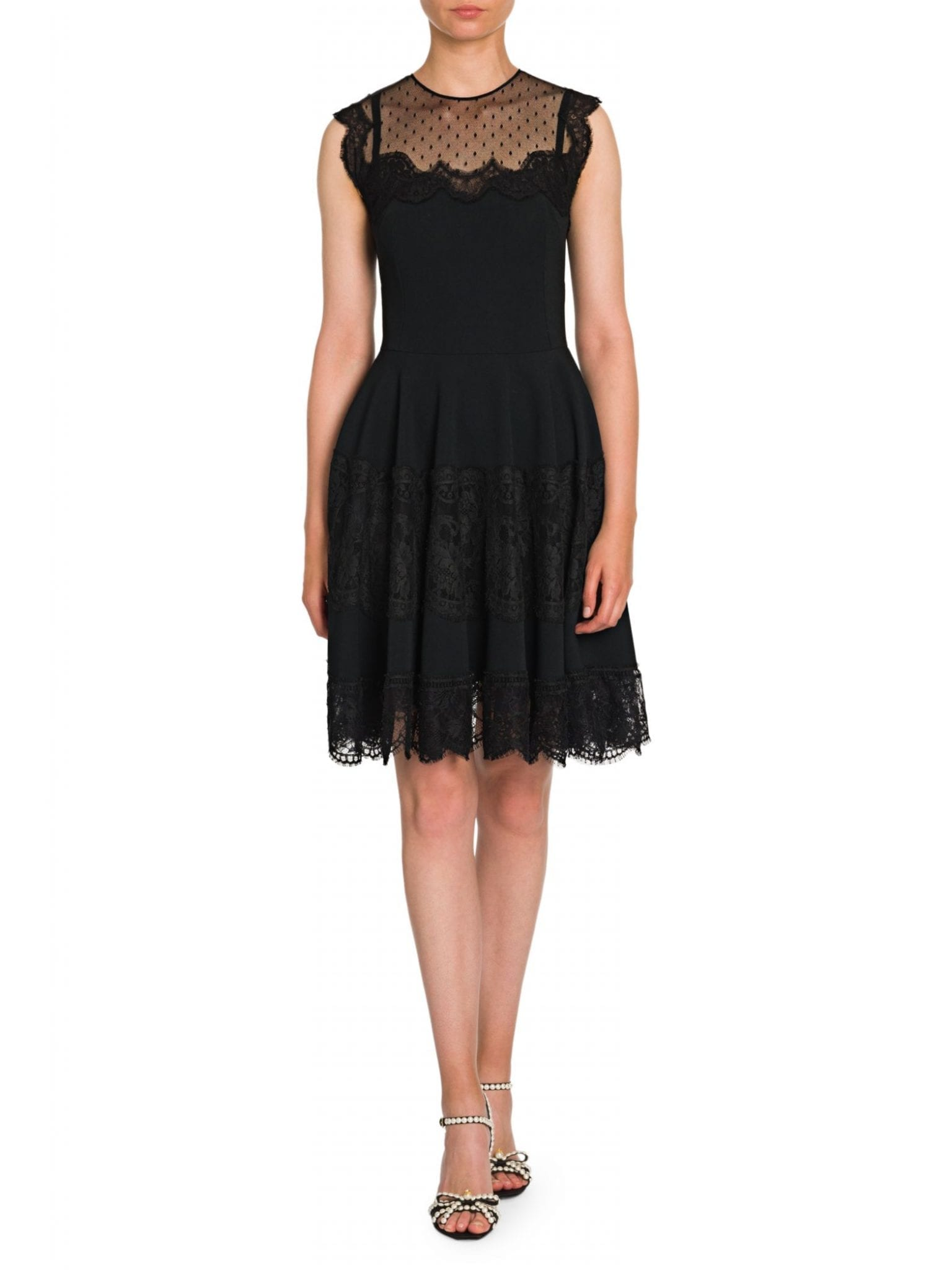 DOLCE & GABBANA Sleeveless Lace Flutter Mini Dress