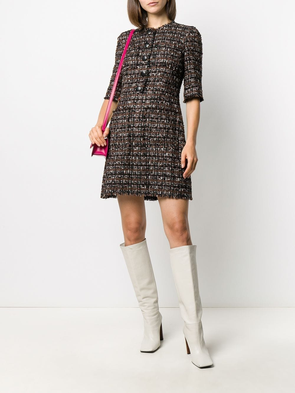 DOLCE & GABBANA Tweed Front-fastening Dress