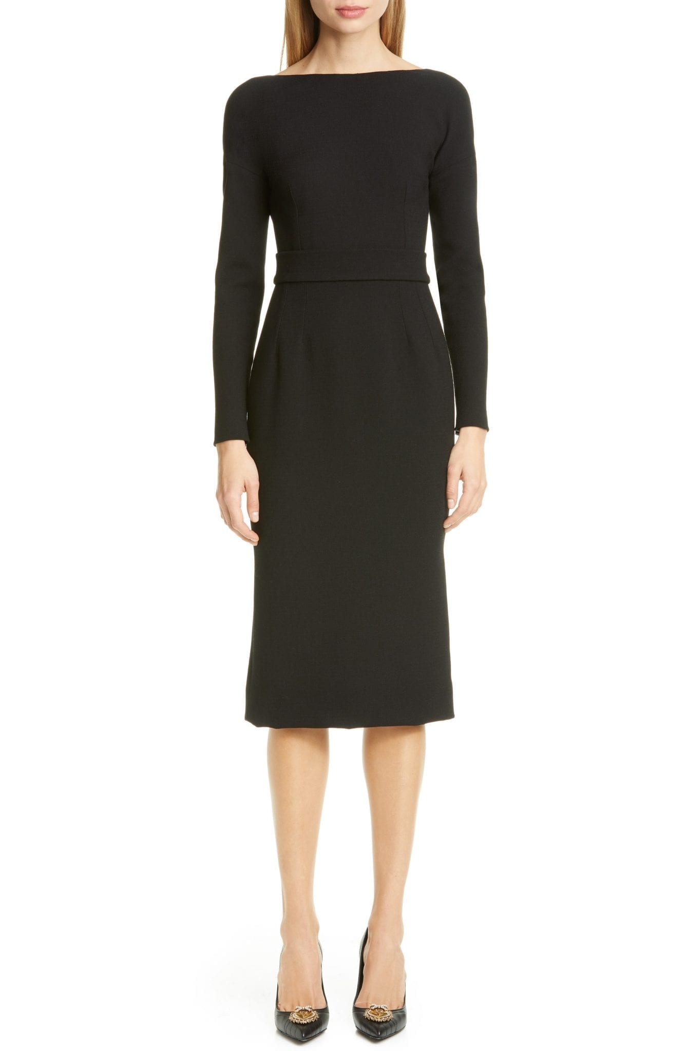 DOLCE&GABBANA Bow Back Long Sleeve Wool Blend Crepe DressDOLCE&GABBANA Bow Back Long Sleeve Wool Blend Crepe Dress