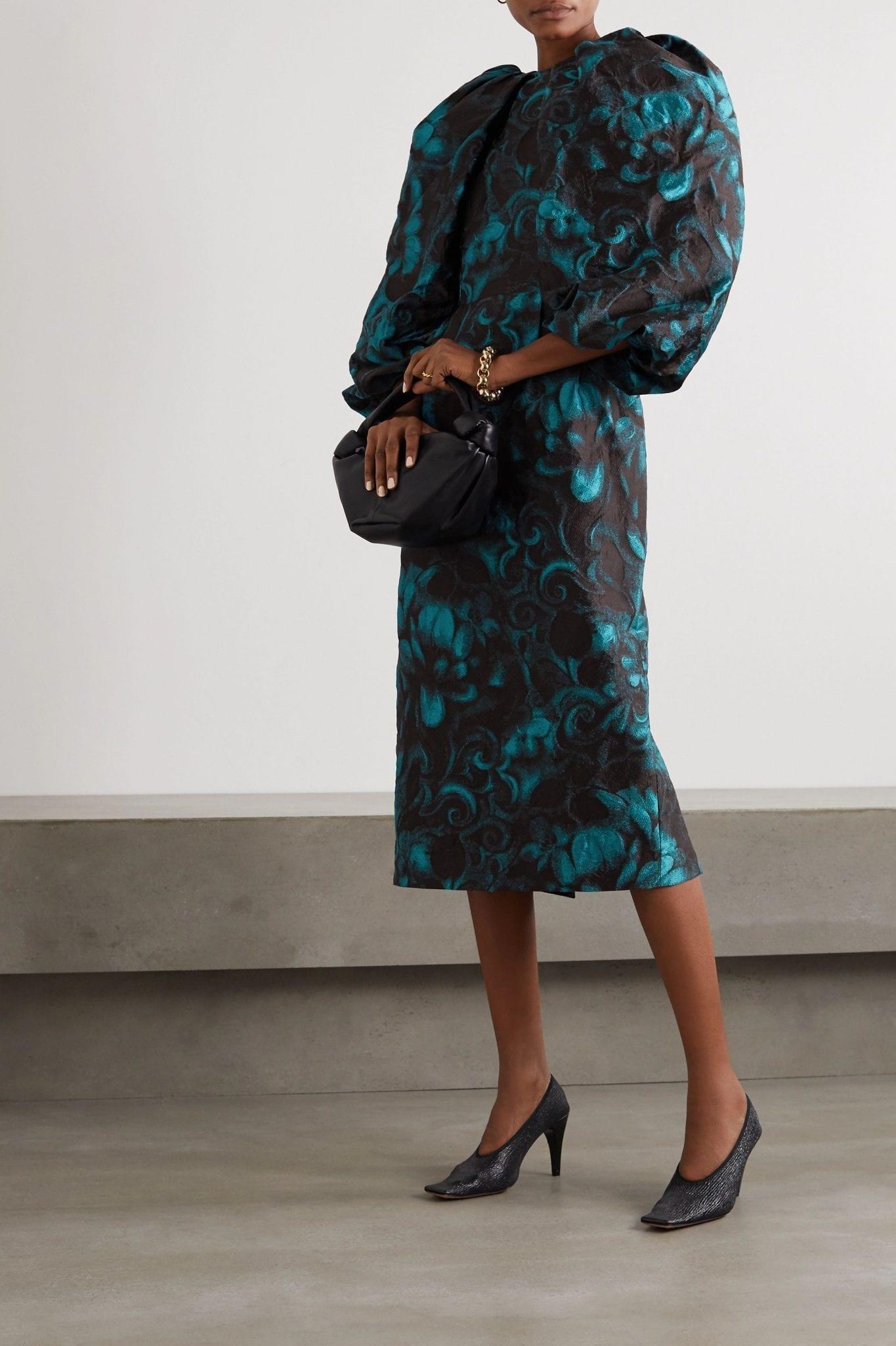 DRIES VAN NOTEN Floral-jacquard Midi Dress