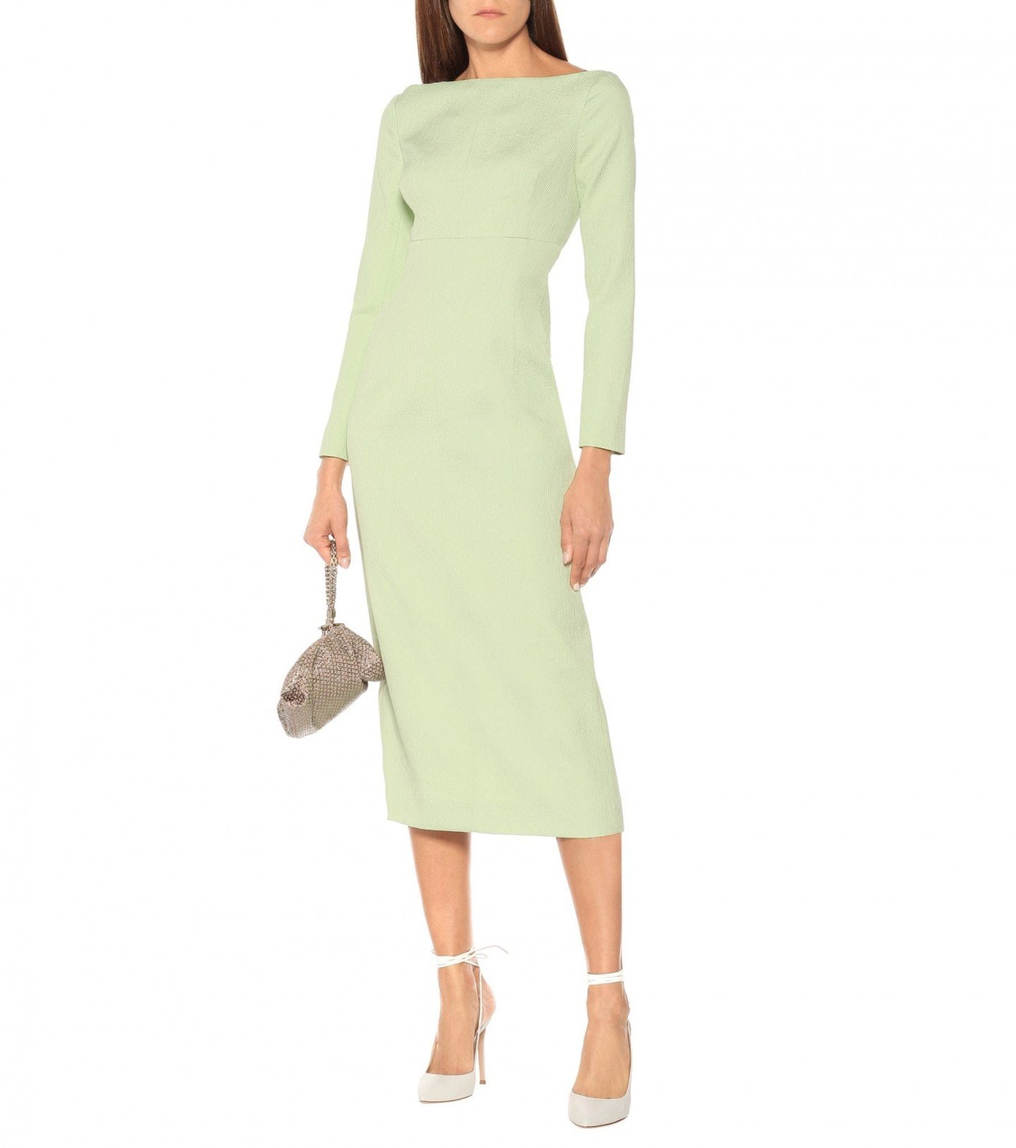 EMILIA WICKSTEAD Asher Boatneck Cloqué Midi Dress