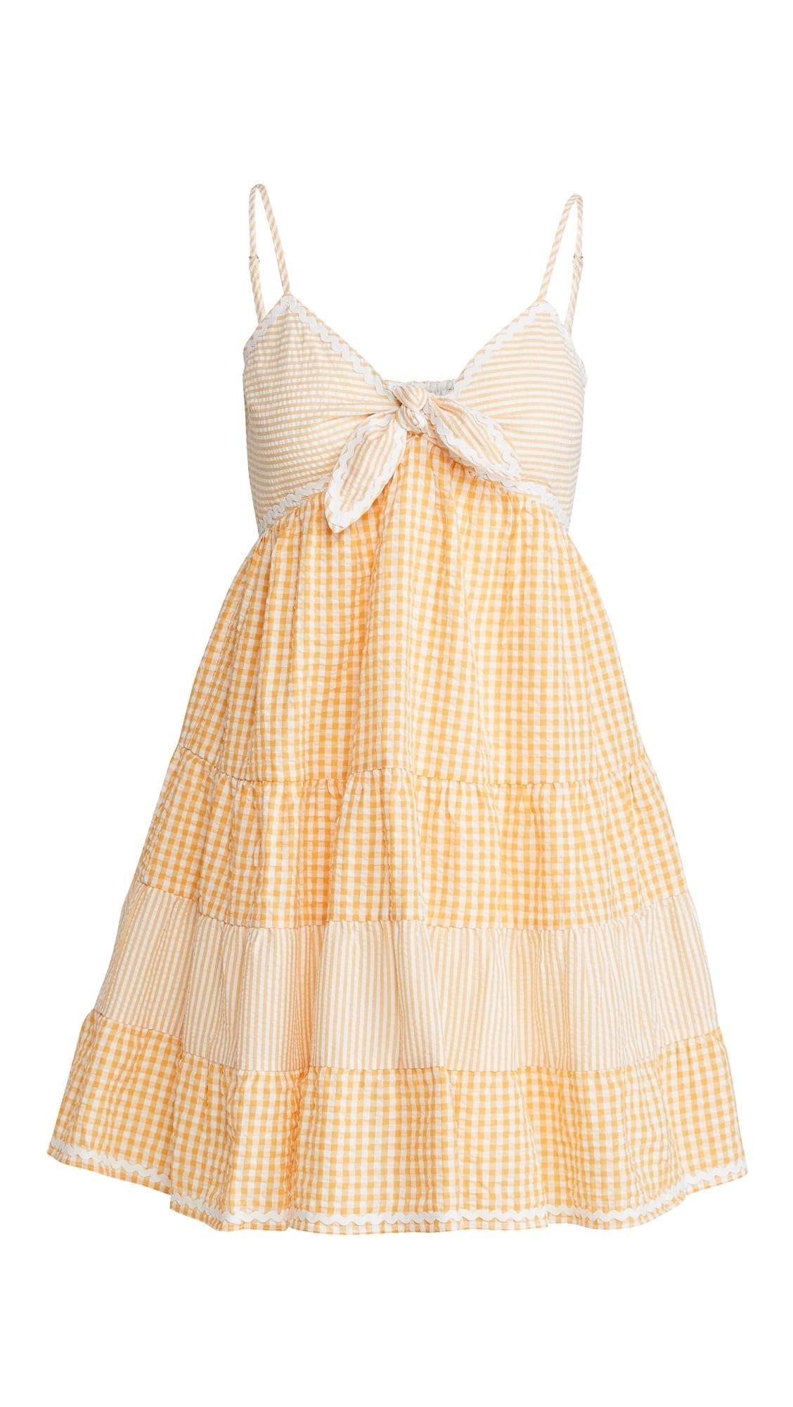 ENGLISH FACTORY Gingham Stripe Babydoll Dress