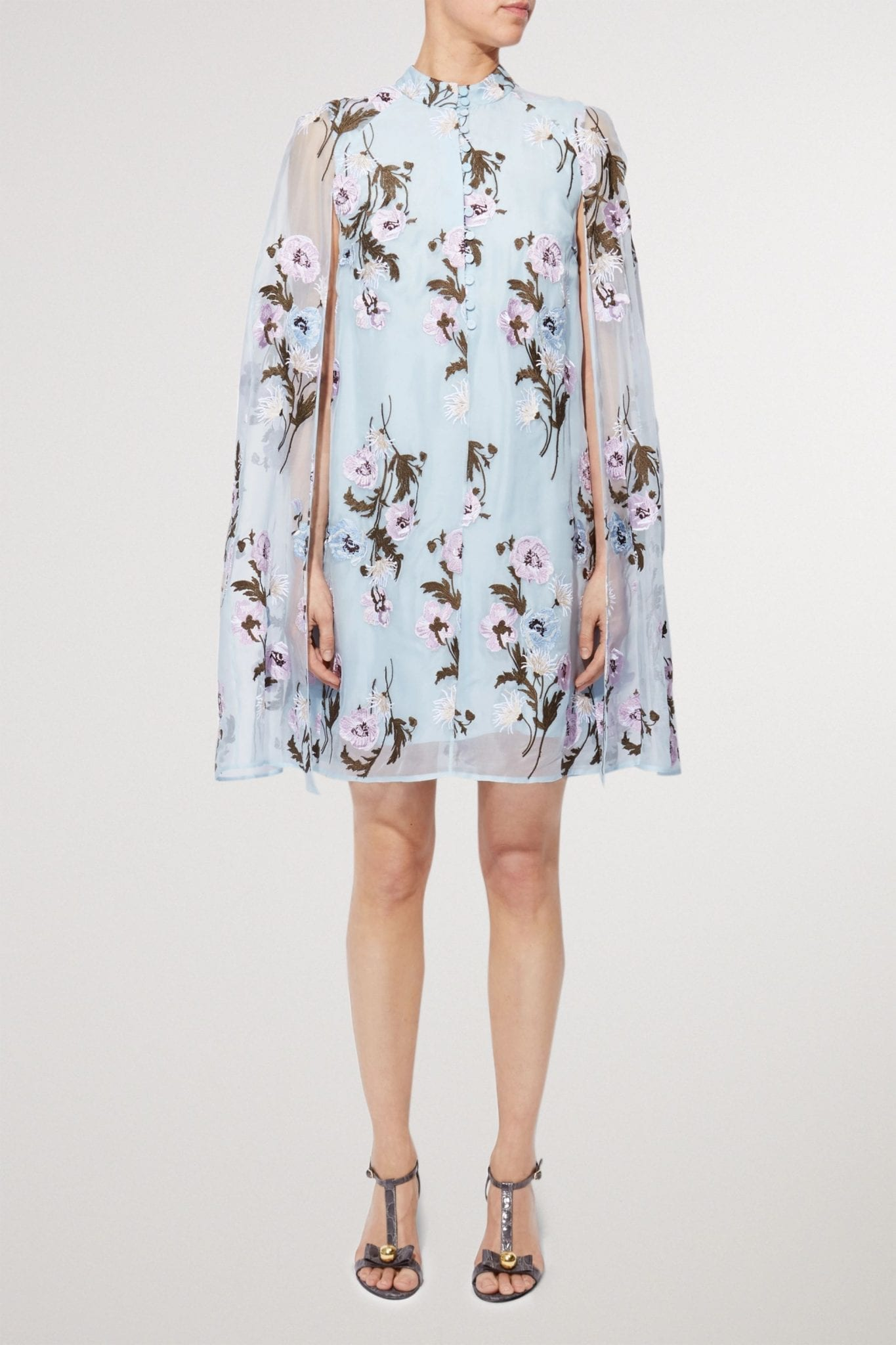 ERDEM Caelyn Cape-effect Embroidered Silk-organza Mini Dress