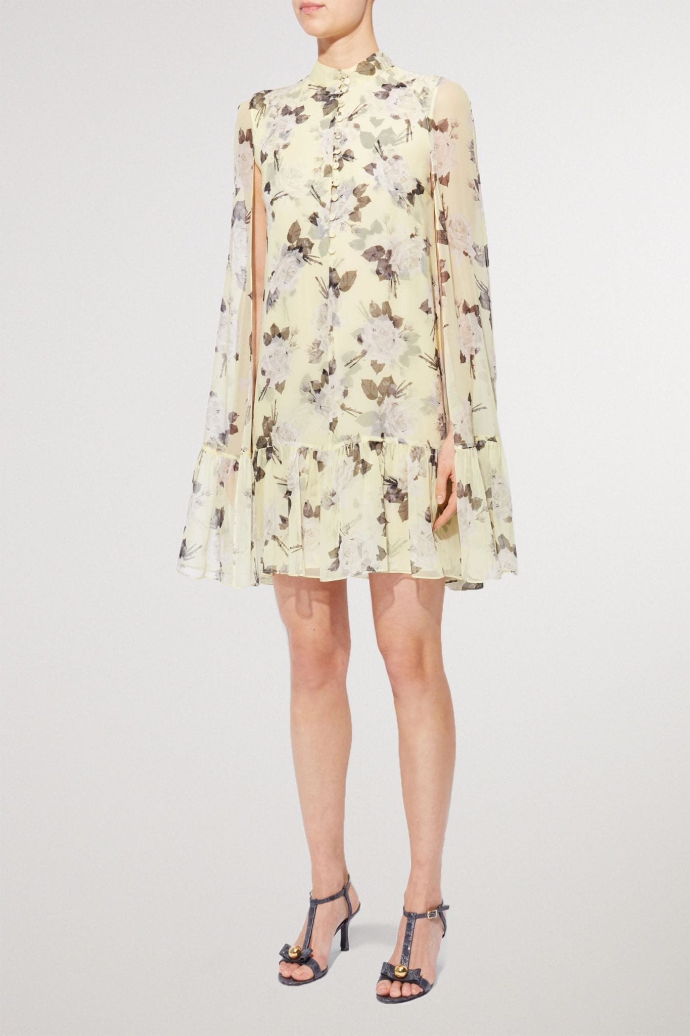 ERDEM Constantine Cape-effect Floral-print Silk-voile Mini Dress